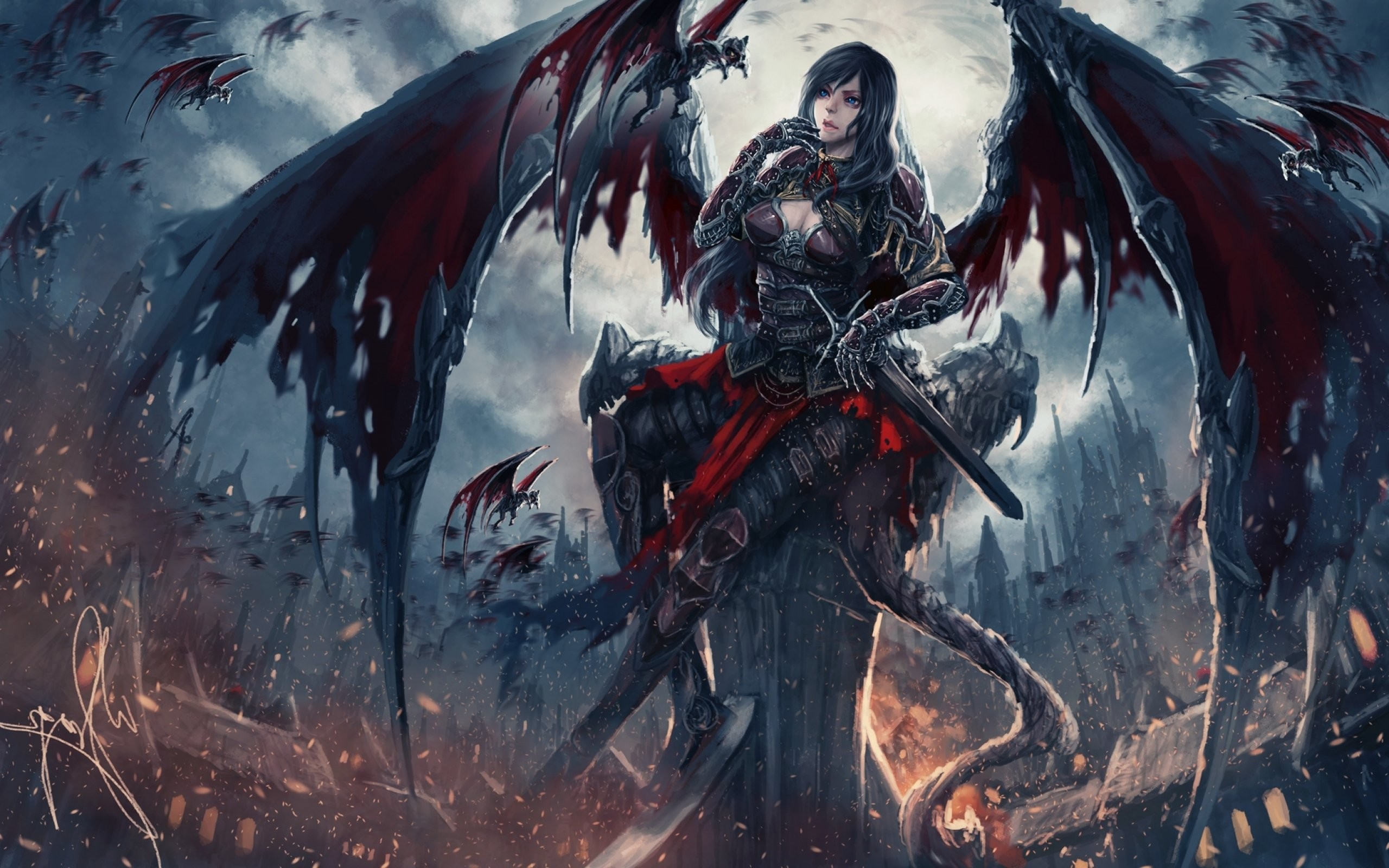 2560x1600 Fantasy Art Artwork Demon Evil Angel Wallpaper At Dark Wallpapers