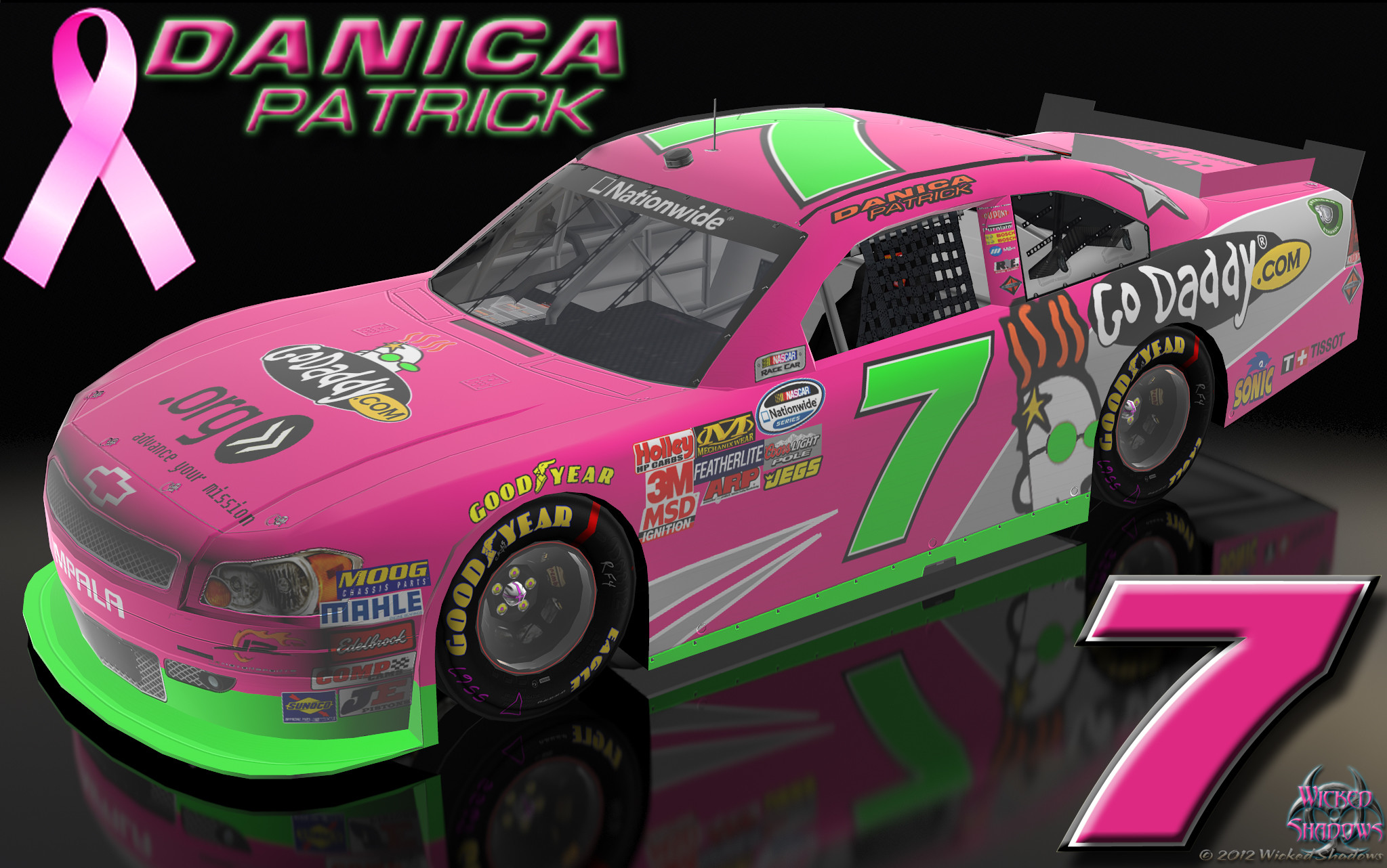2047x1282 Danica Patrick Go Daddy Pink Car Breast Cancer Awareness Wallpaper
