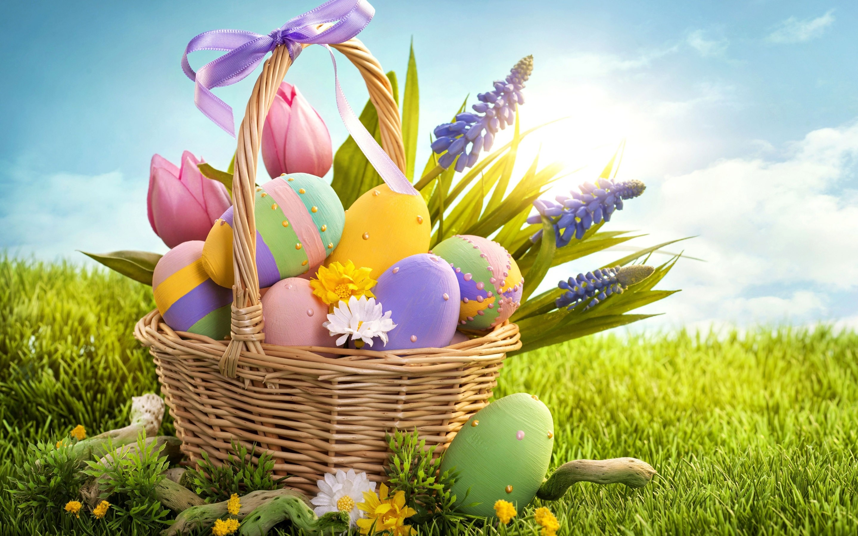 2880x1800 Happy Easter Eggs Basket Free Download HD Wallpaper
