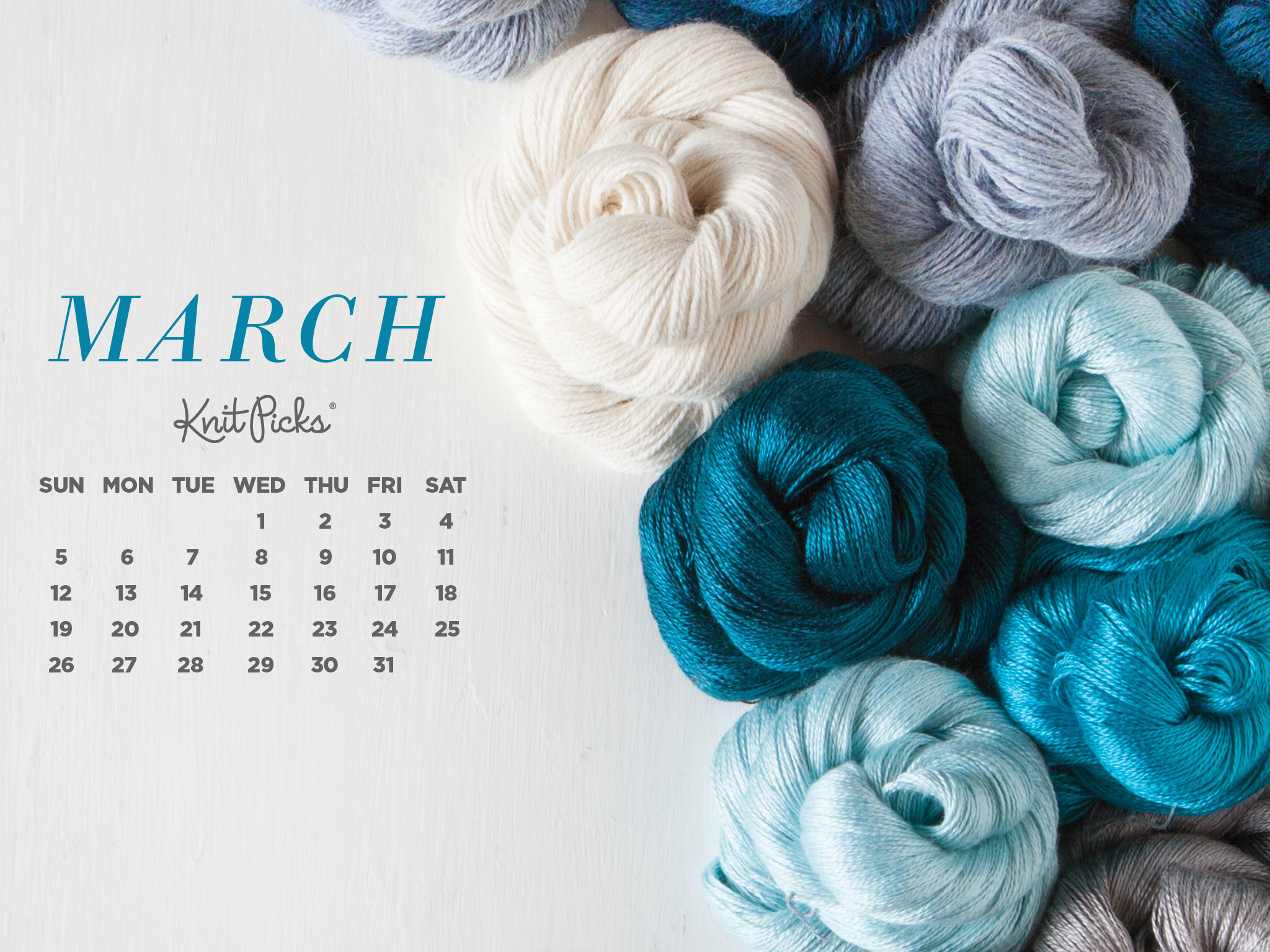 2048x1536 Free Downloadable March Calendar