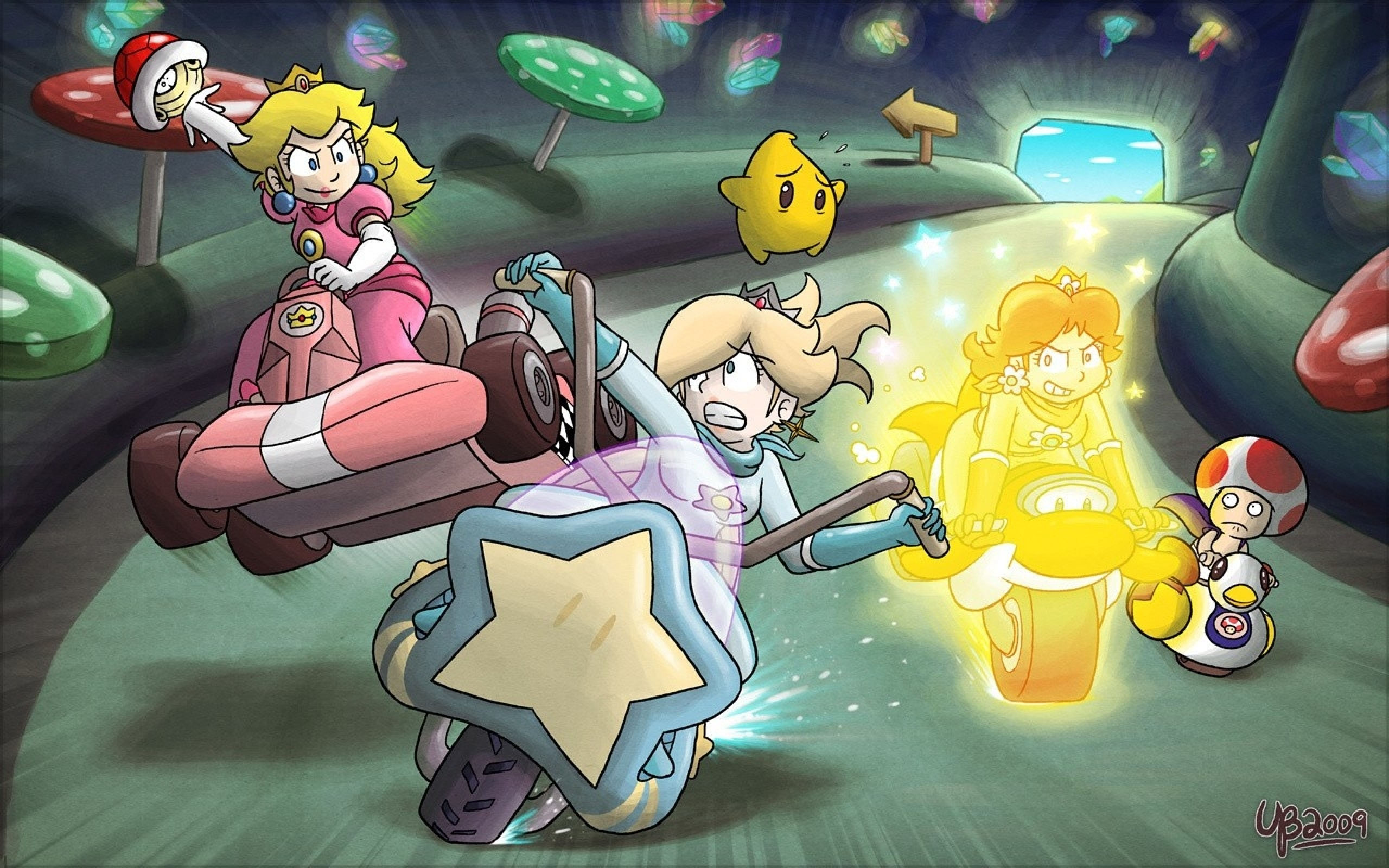 2560x1600 princess peach mario kart princess daisy princess rosalina Wallpaper HD