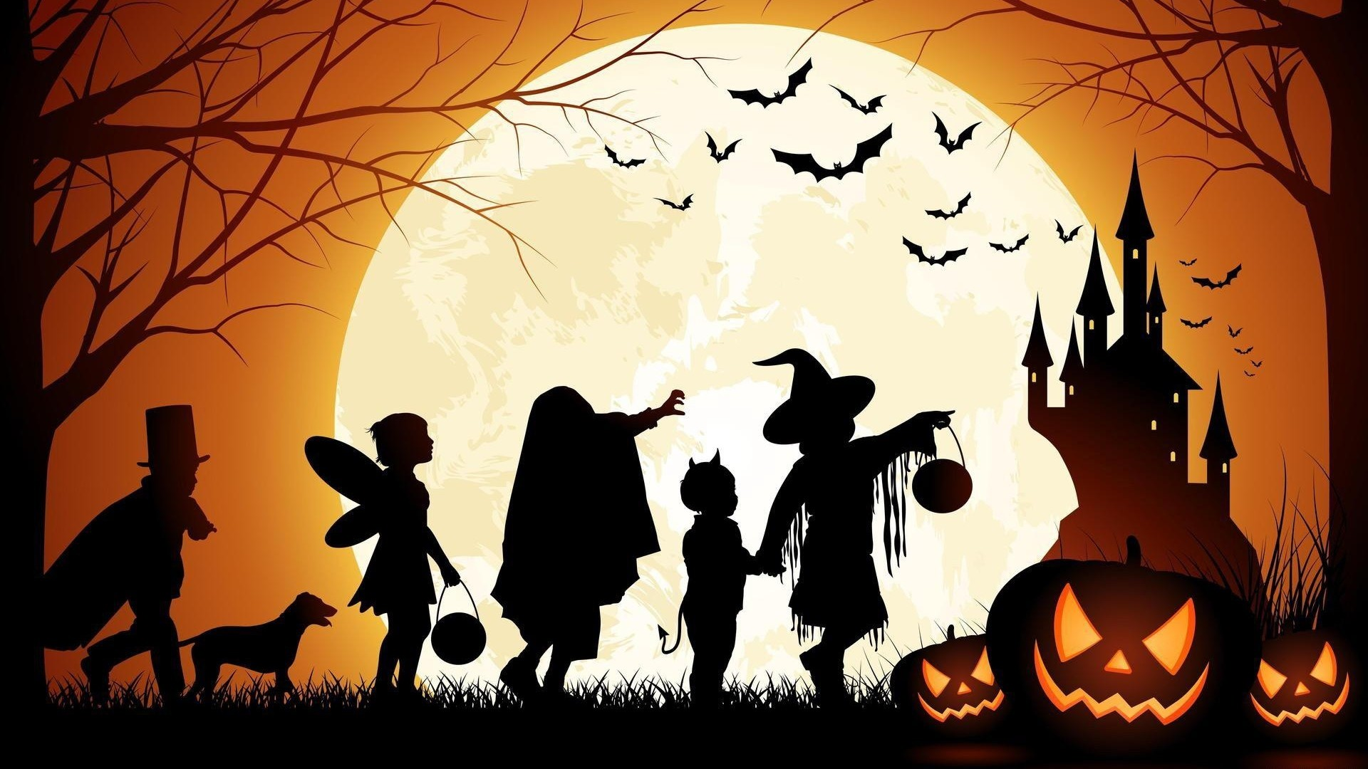 1920x1080 halloween, holiday, dog · halloween, holiday, people