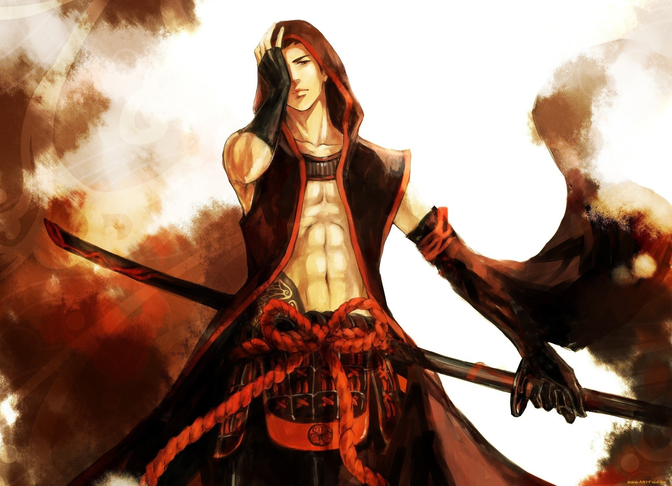 2255x1632 Anime character male sword warrior red wallpaper |  | 913280 |  WallpaperUP
