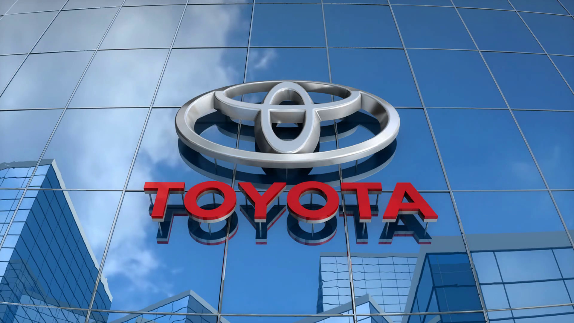 1920x1080 Editorial, Toyota logo on glass building. Motion Background - VideoBlocks