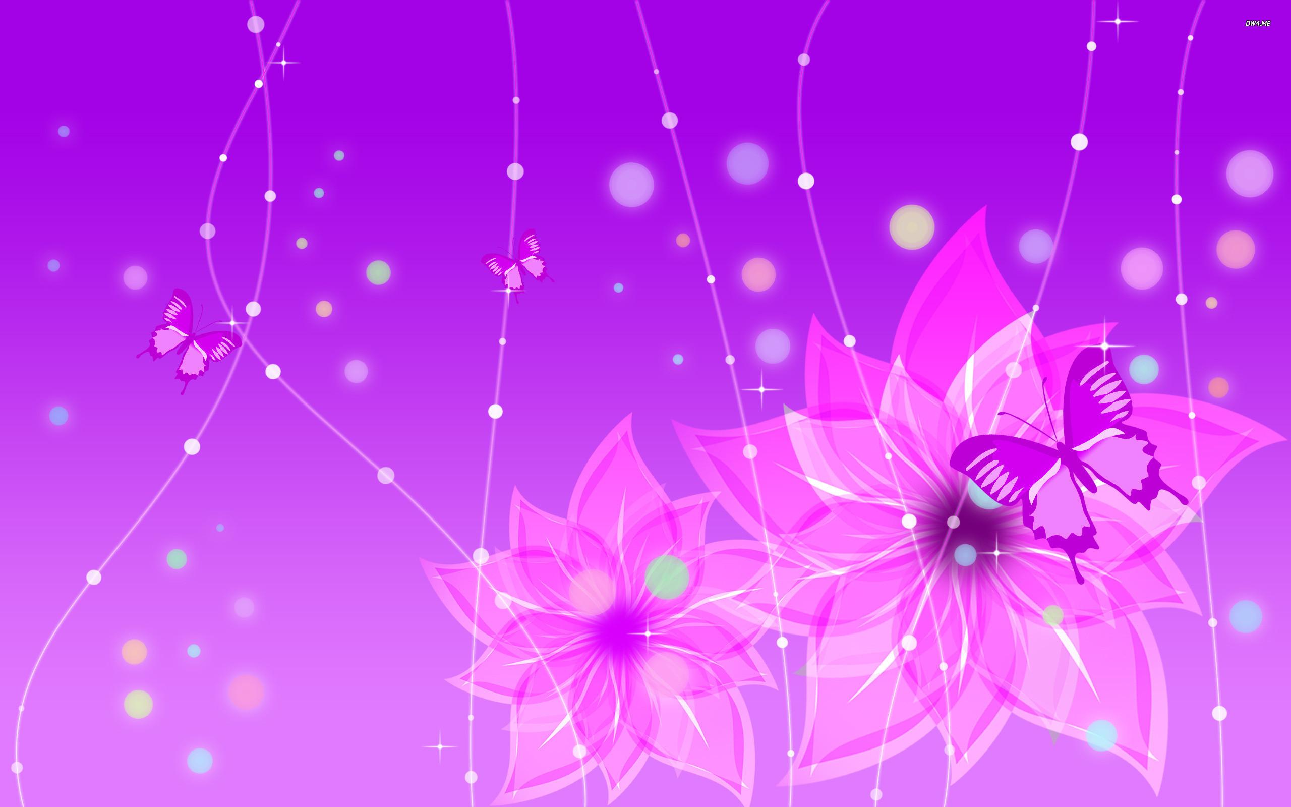 1080x1920 Purple Flowers And Butterflies