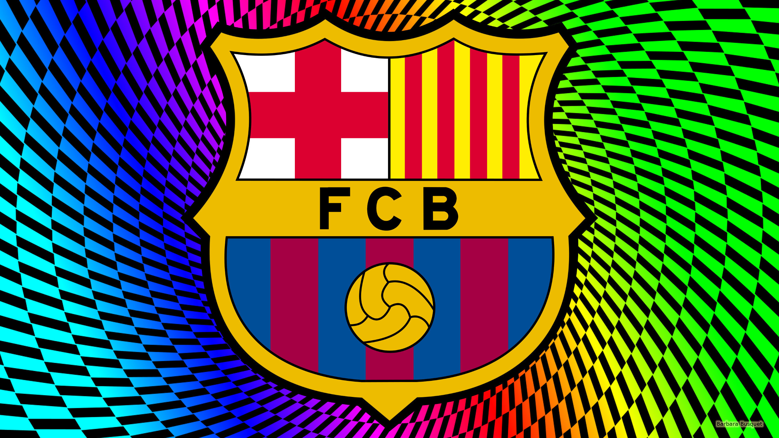 2560x1440 Blaugrana wallpaper with logo.