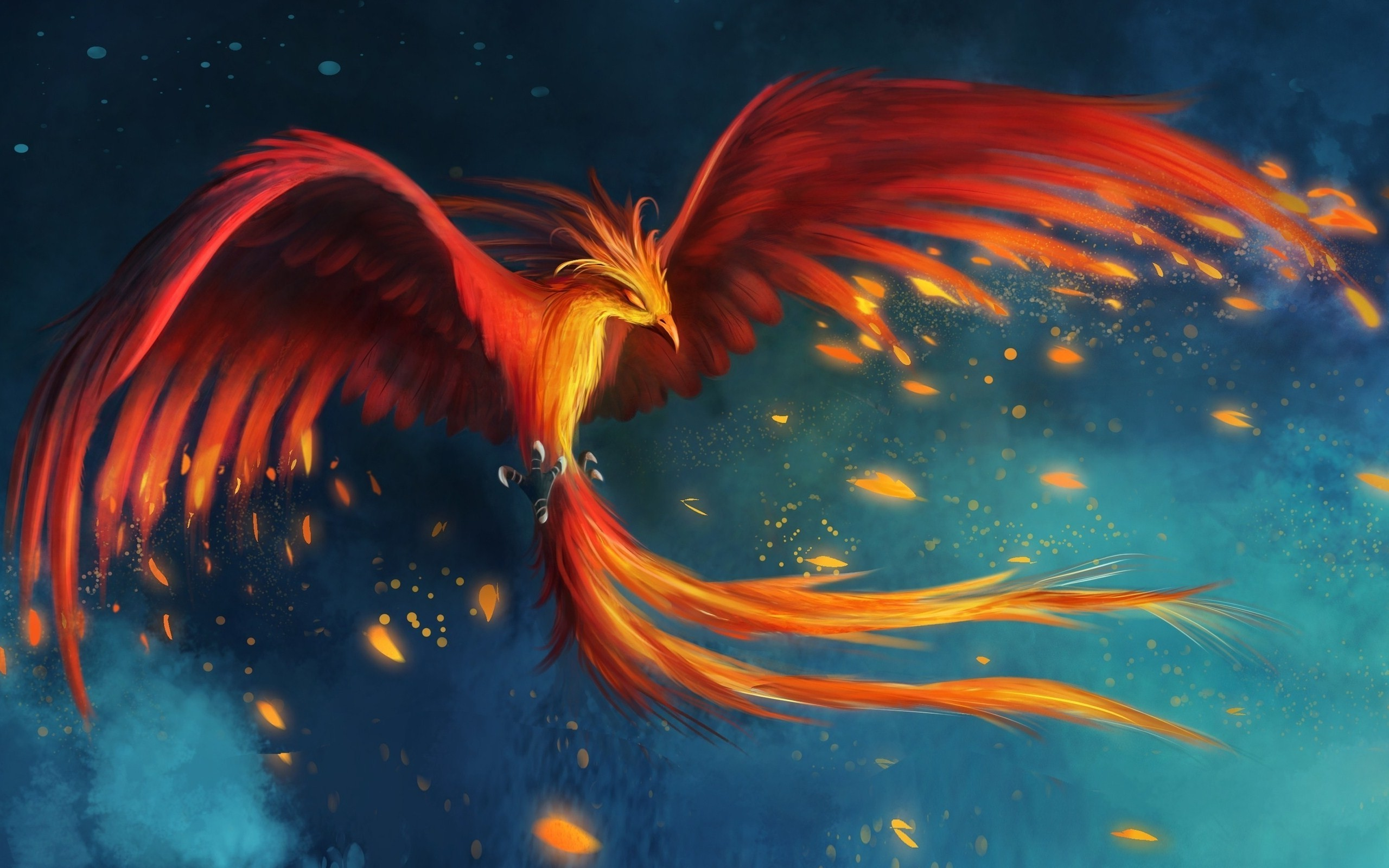 2560x1600 digital Art, Fantasy Art, Birds, Wings, Phoenix, Burning, Fire, Flying,  Tail Wallpapers HD / Desktop and Mobile Backgrounds