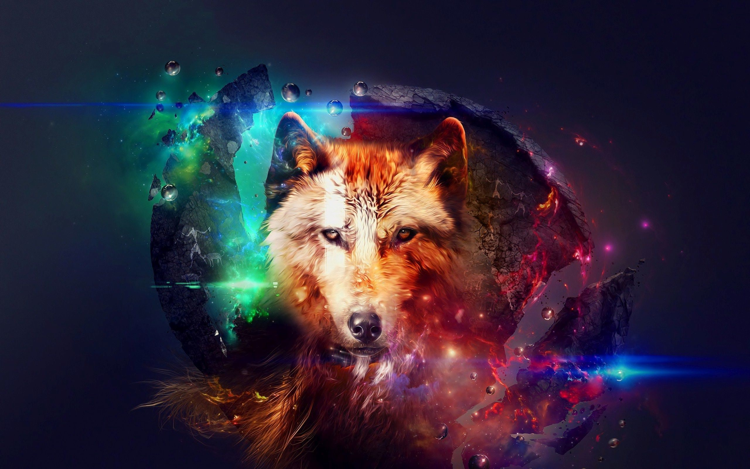 2560x1600 ... Wolf in space HD Wallpaper
