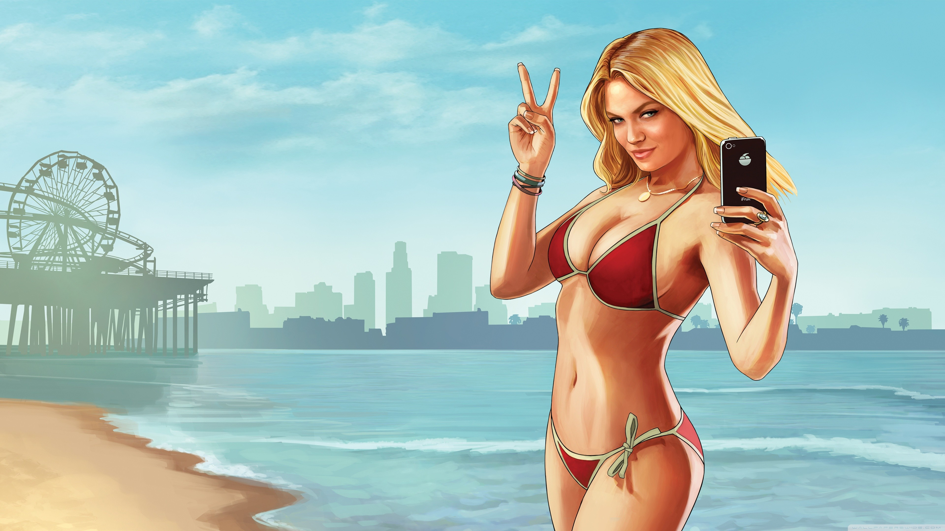 3840x2160 Grand Theft Auto V Beach Weather HD Wide Wallpaper for Widescreen