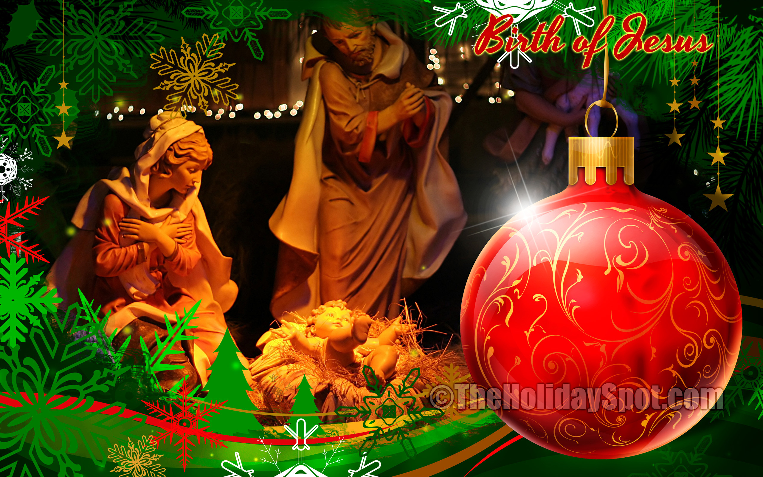 2560x1600 Christmas Wallpaper showing glowing earth during birth of jesus