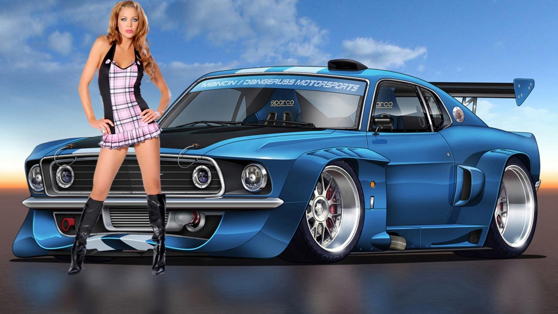 1920x1080 Hot Cars Wallpapers With Girls Wallpaper