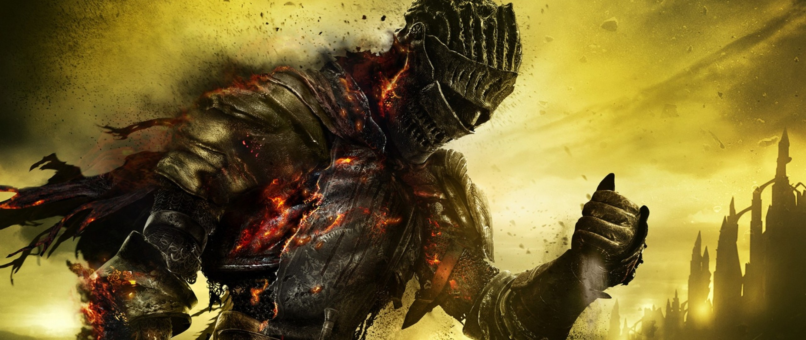 2560x1080 Preview wallpaper dark souls 3, armor, warrior, fire, ash, art