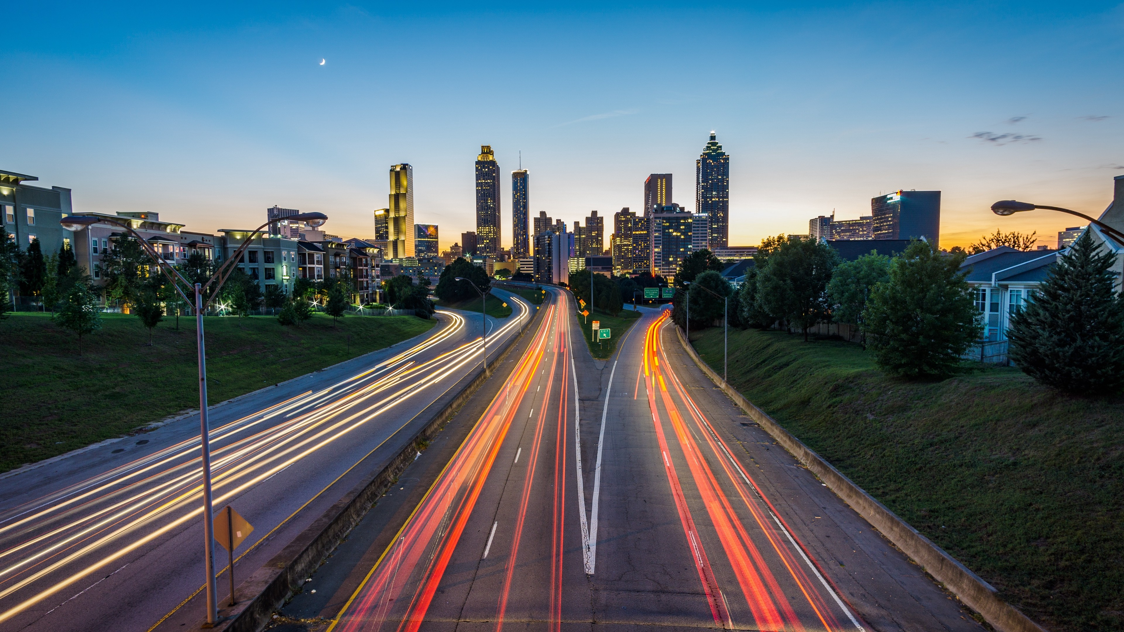 3840x2160  Wallpaper atlanta, usa, road, skyscrapers