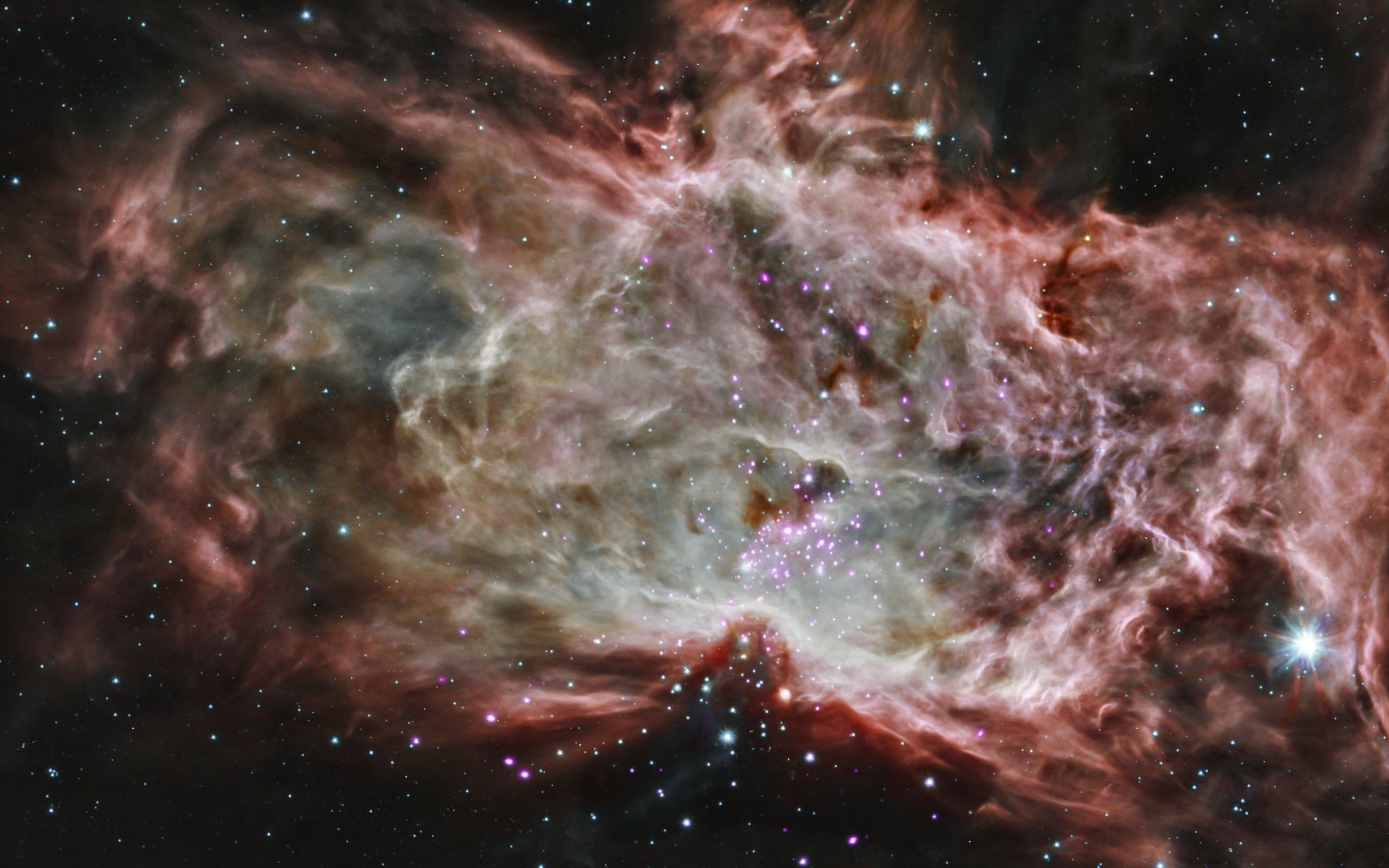 1920x1200 This composite image shows one of the clusters, NGC 2024, which is found in