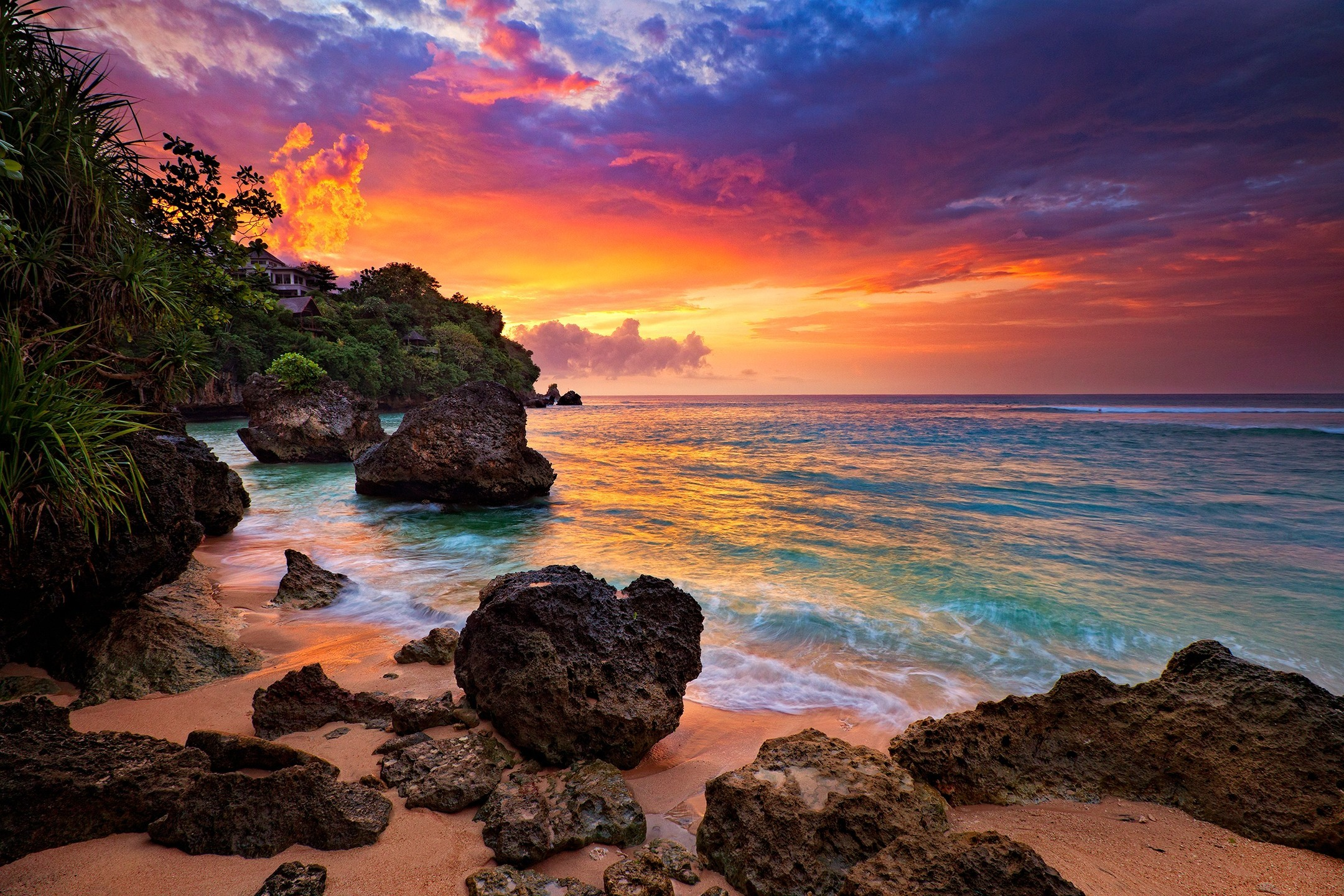 2160x1440 Beach Sky Sunset Rocks Clouds Hidden Ocean Bali Trees Waves Sand Indonesia  Island House Beautiful Beaches