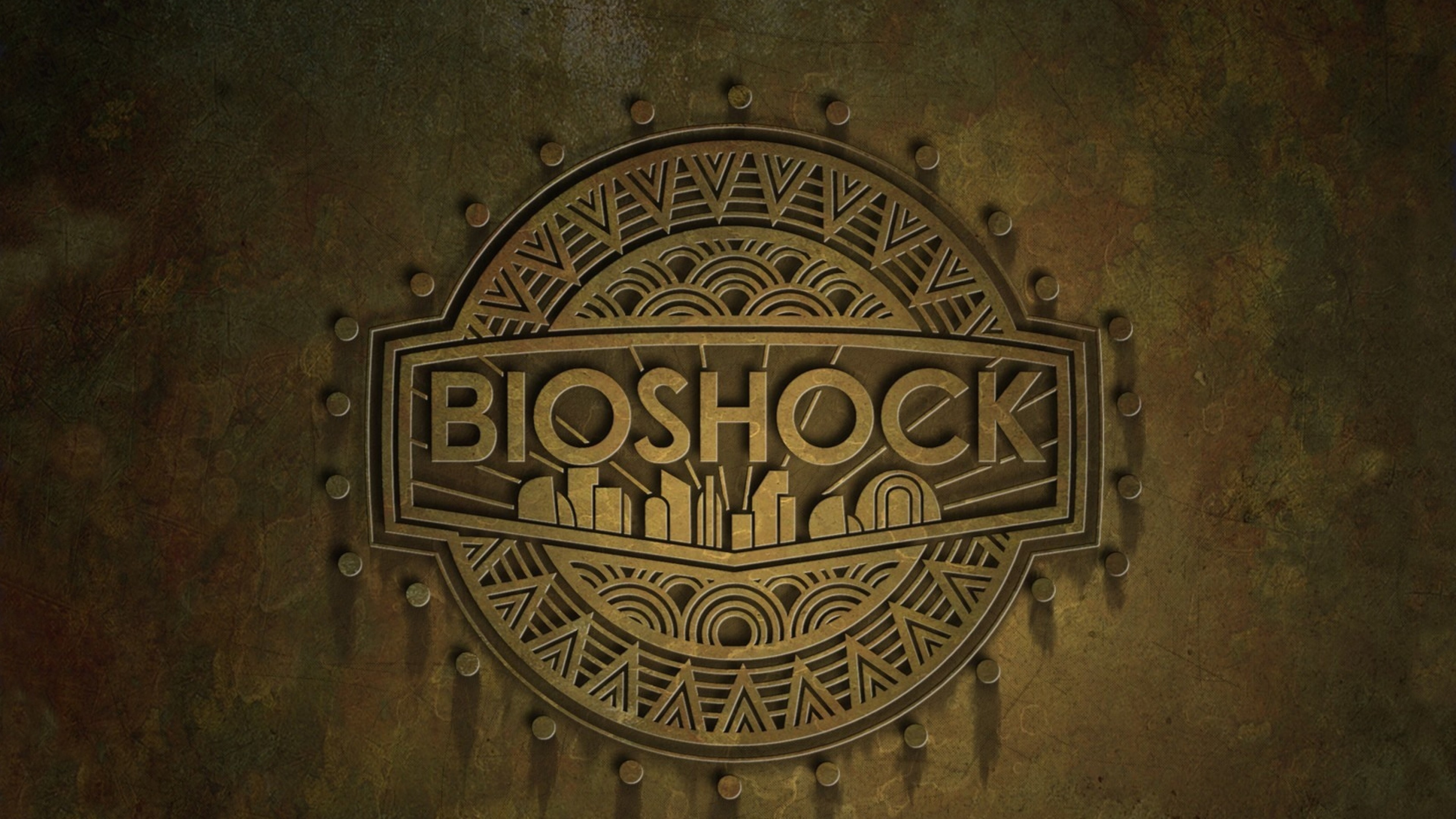 3840x2160 Preview wallpaper bioshock, name, background, city, emblem