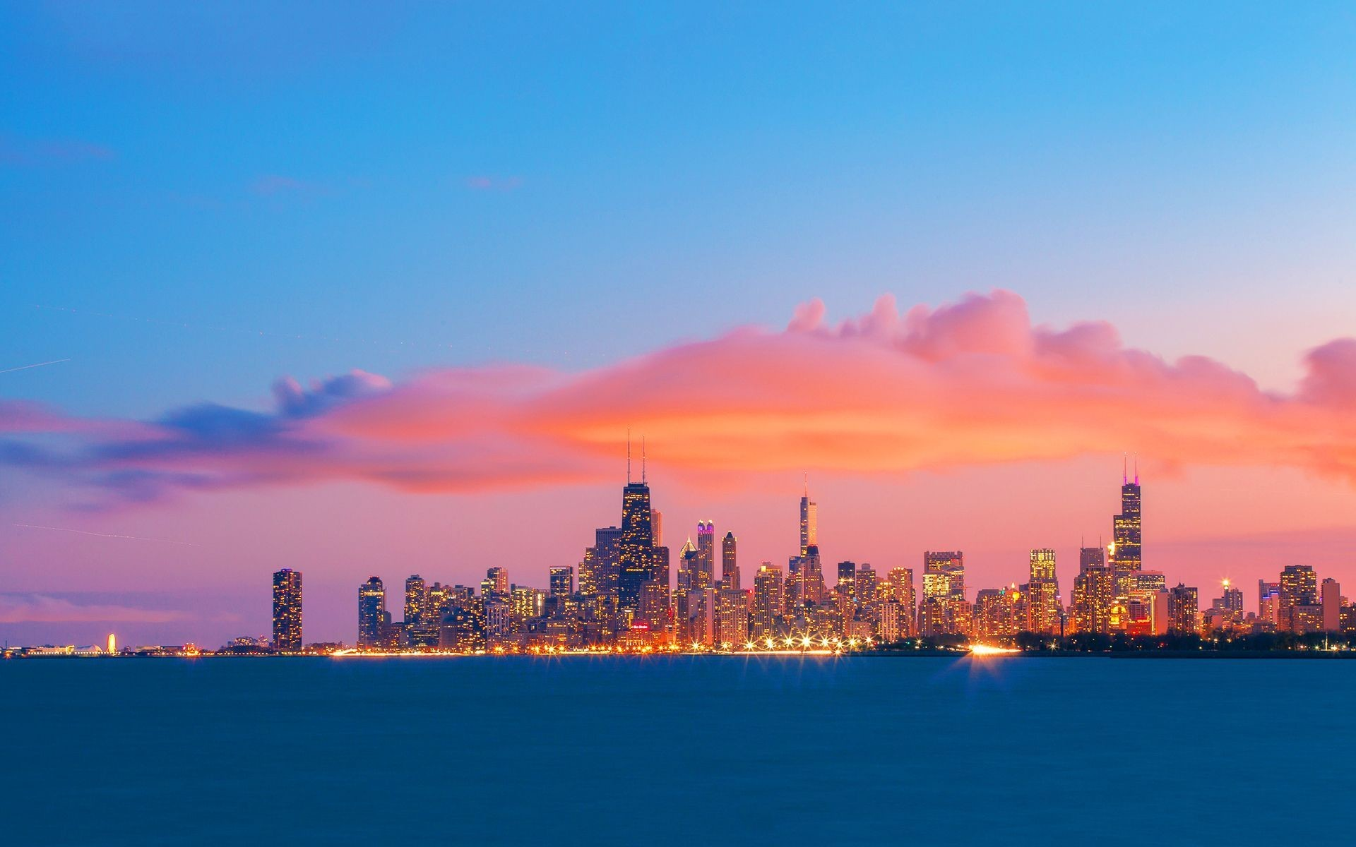 1920x1200 Chicago skyline evening sunset Wallpapers