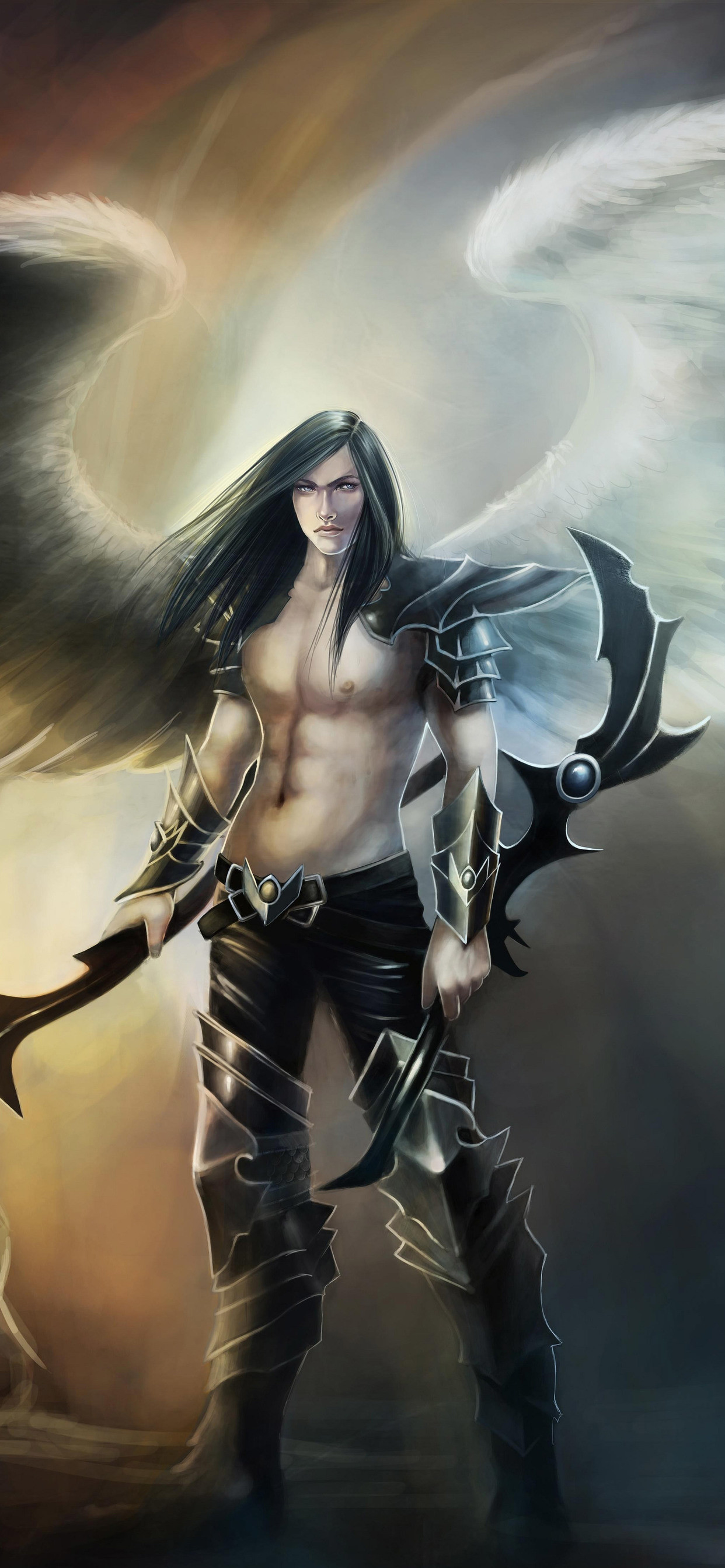 1242x2688 Angel Warrior Fantasy Man Wings (Iphone XS MAX)