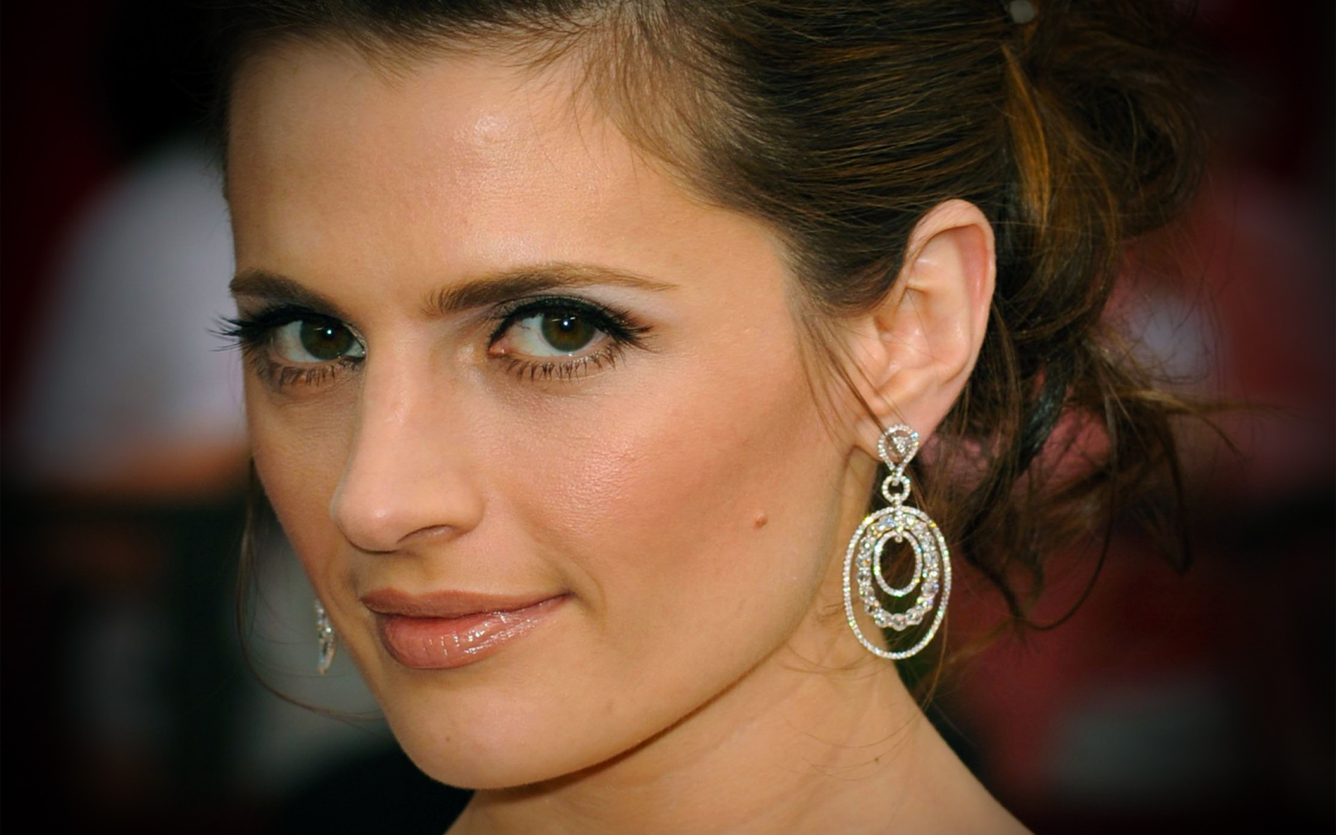 1920x1200 Wallpaper Stana Katic Face Girls Earrings Glance Celebrities   Staring