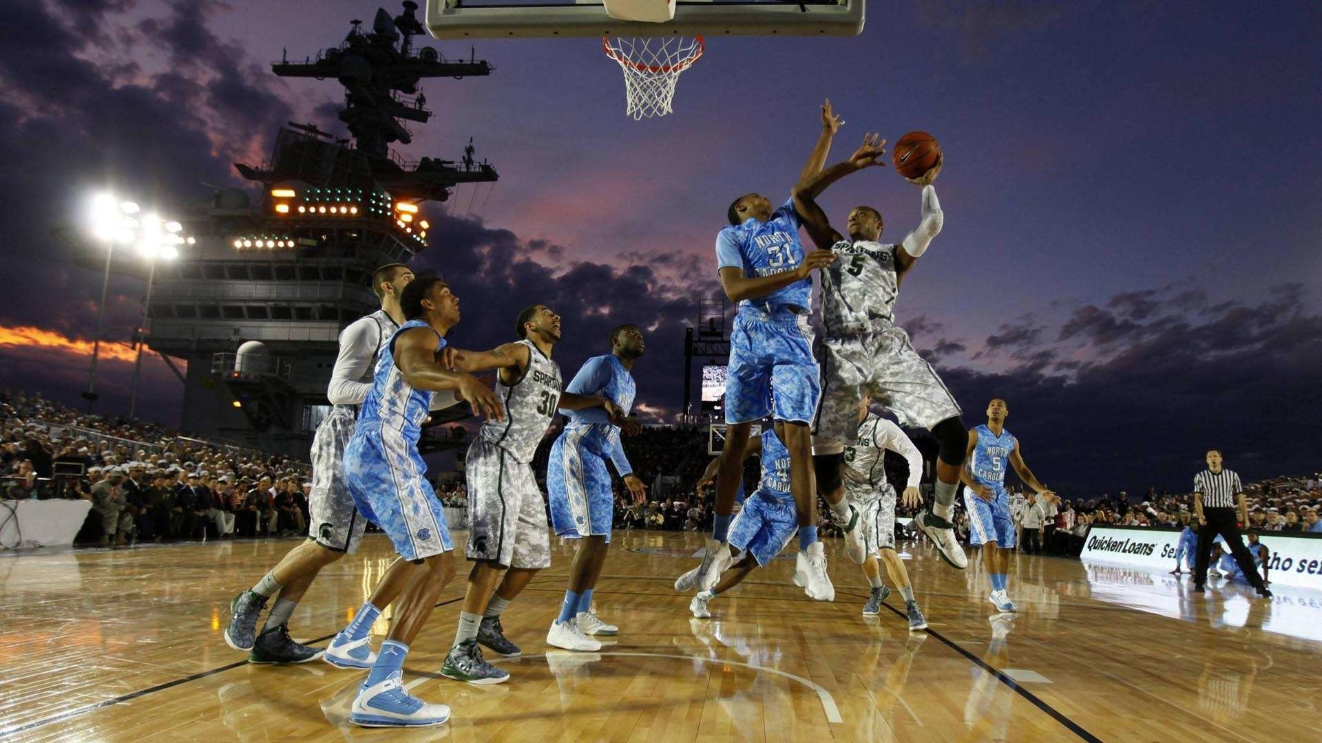 1920x1080 College basketball game on an aircraft carrier HD Wallpaper .