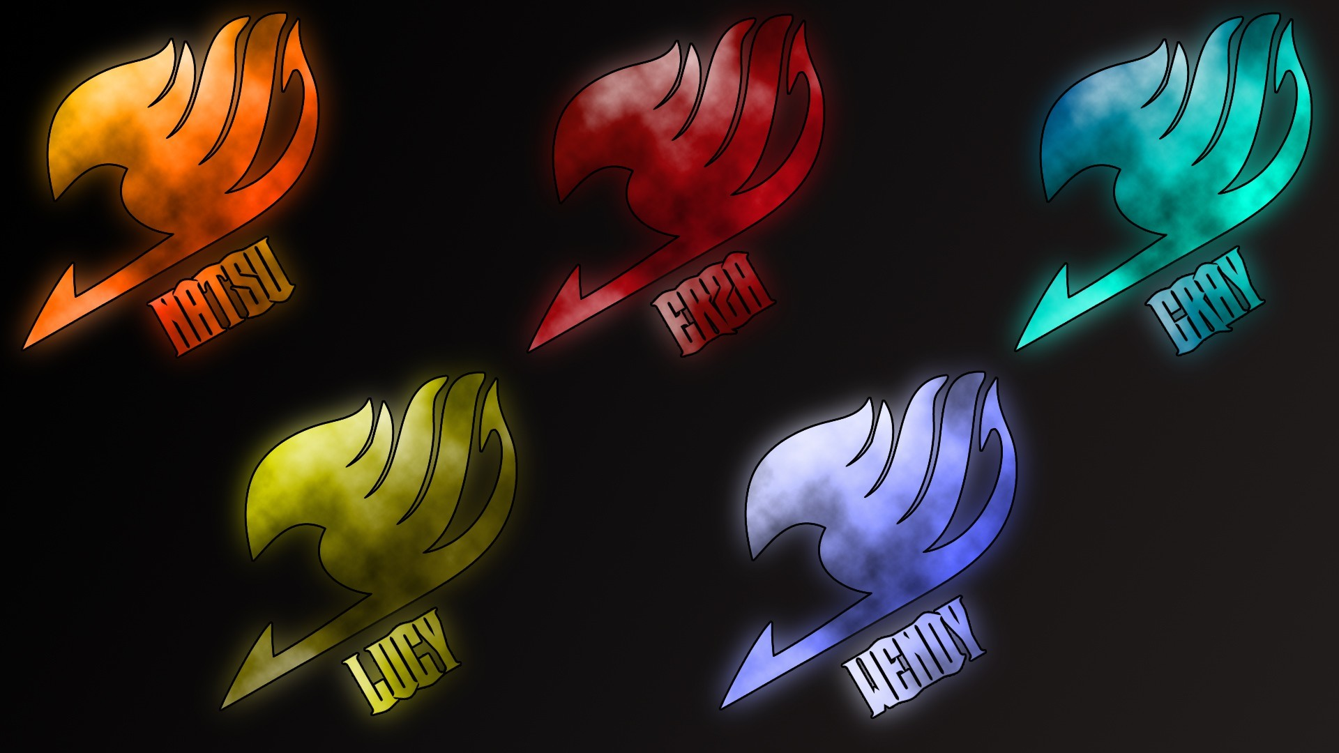 1920x1080 Anime Fairy Tail Logo In Many Colors Wallpaper Fairy Tail Wallpaper