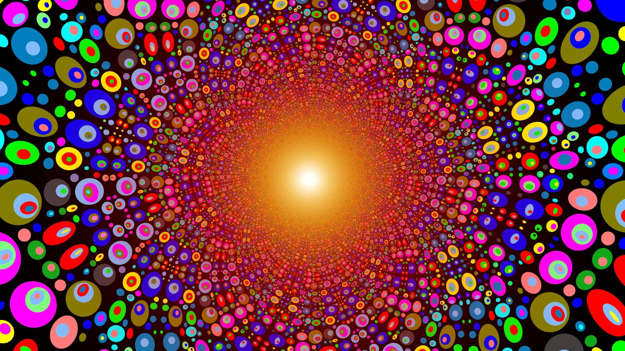 2048x1152 Preview wallpaper colorful, bright, circles, texture, line, explosion