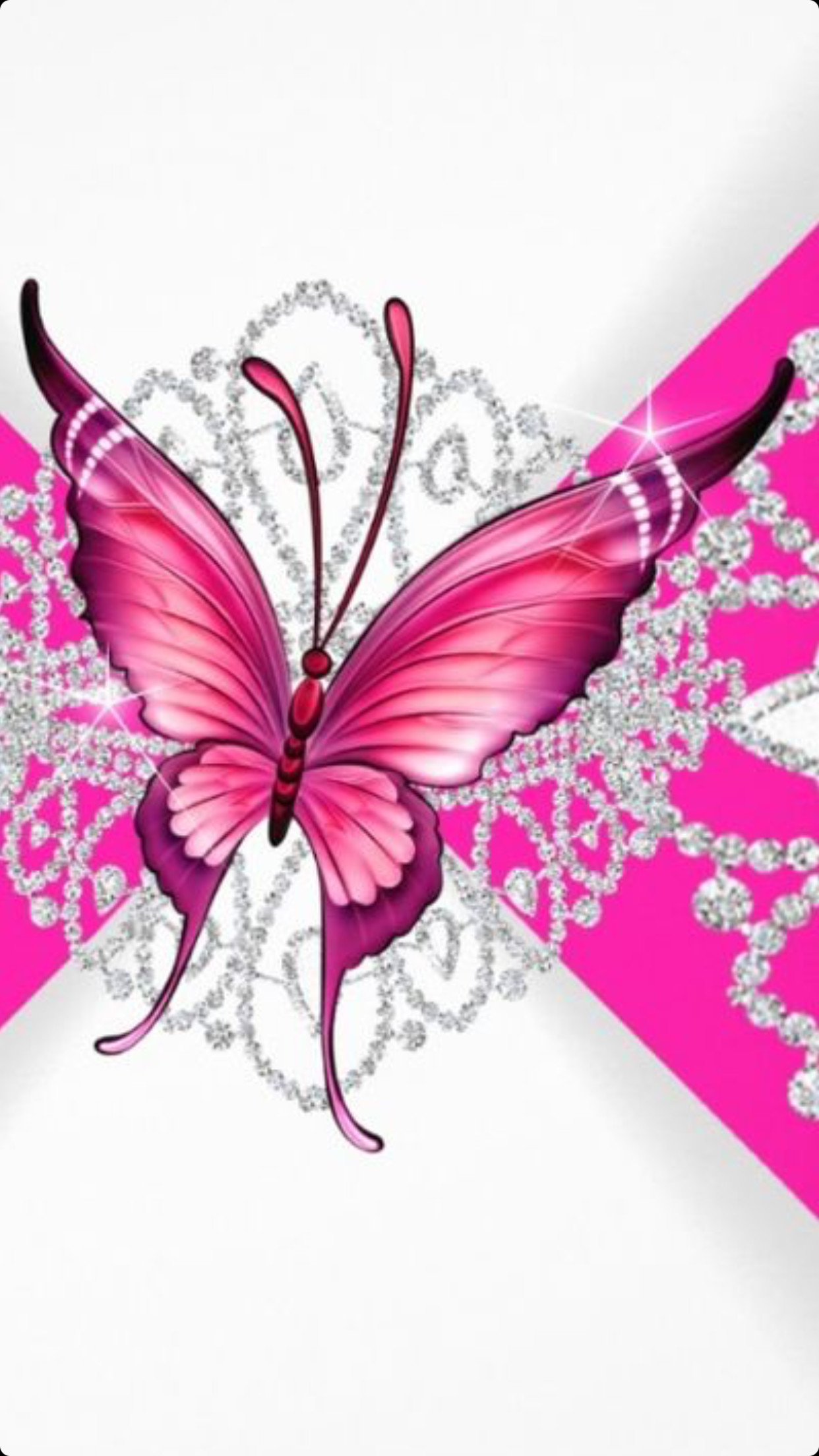 Pink and Purple Butterfly Wallpaper (65+ images) Pink Glitter Butterfly Wallpaper