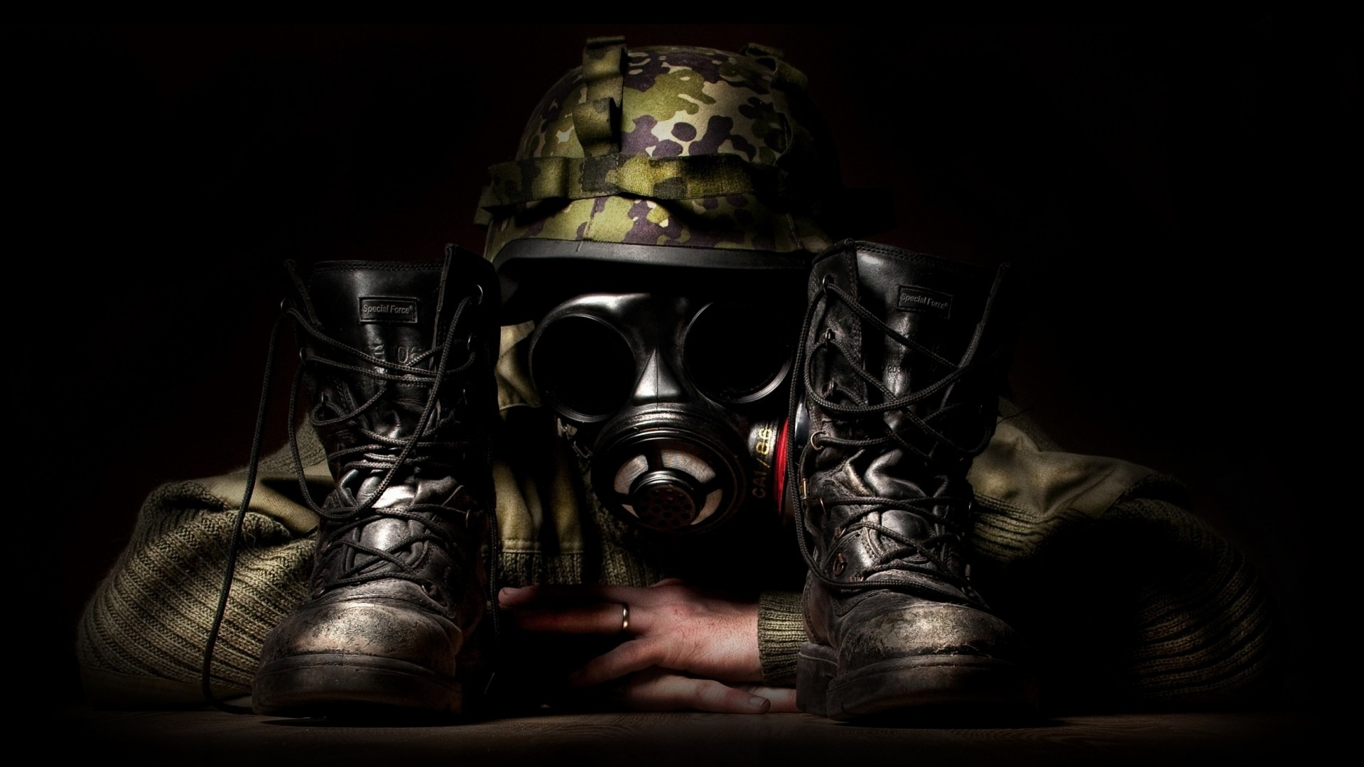 1920x1080 Preview wallpaper camouflage, mask, shoes, creative, military