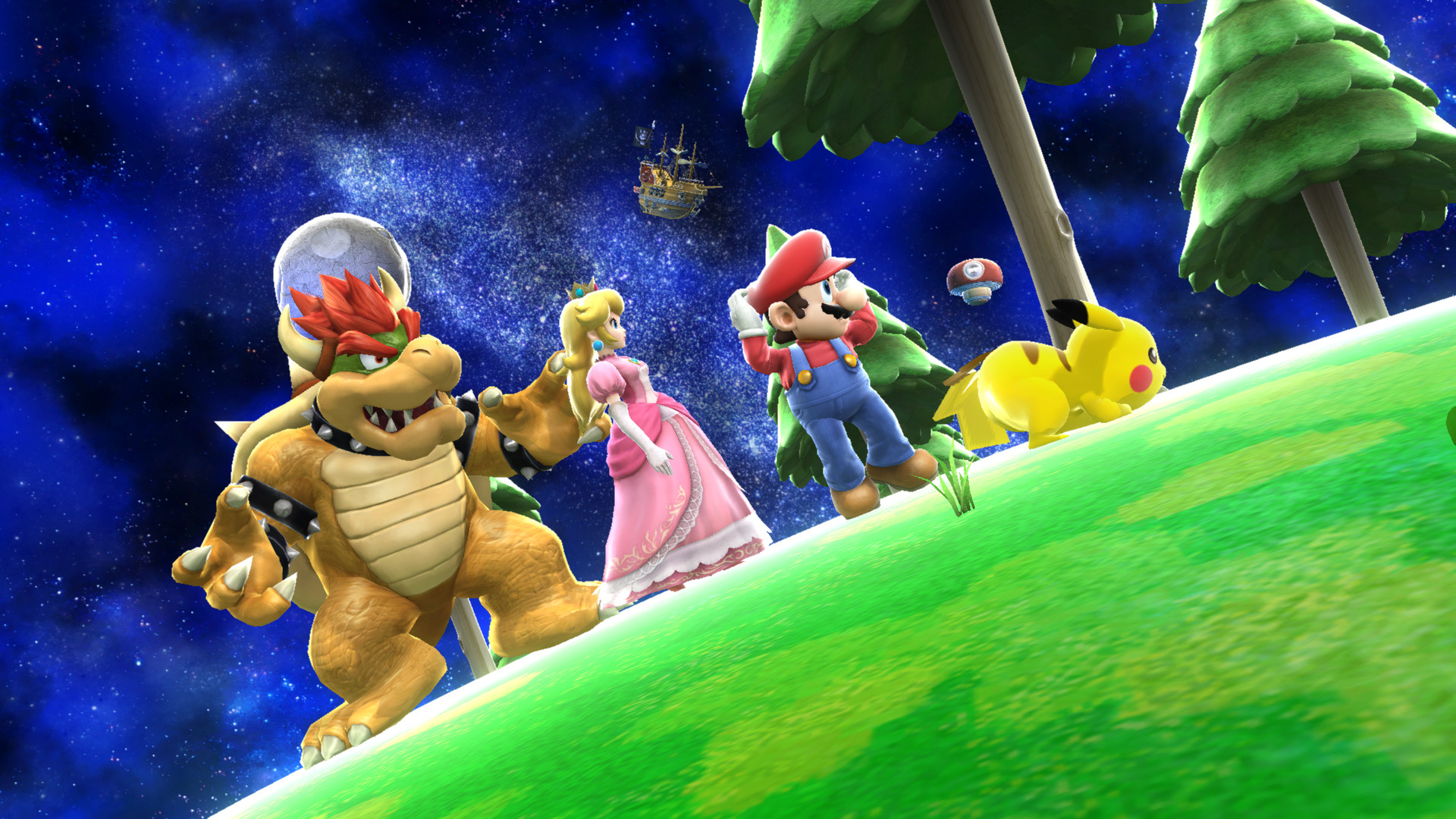 1920x1080 ... Mario, Peach, Bowser, and Pikachu Smash Bros by Rosalina-Luma