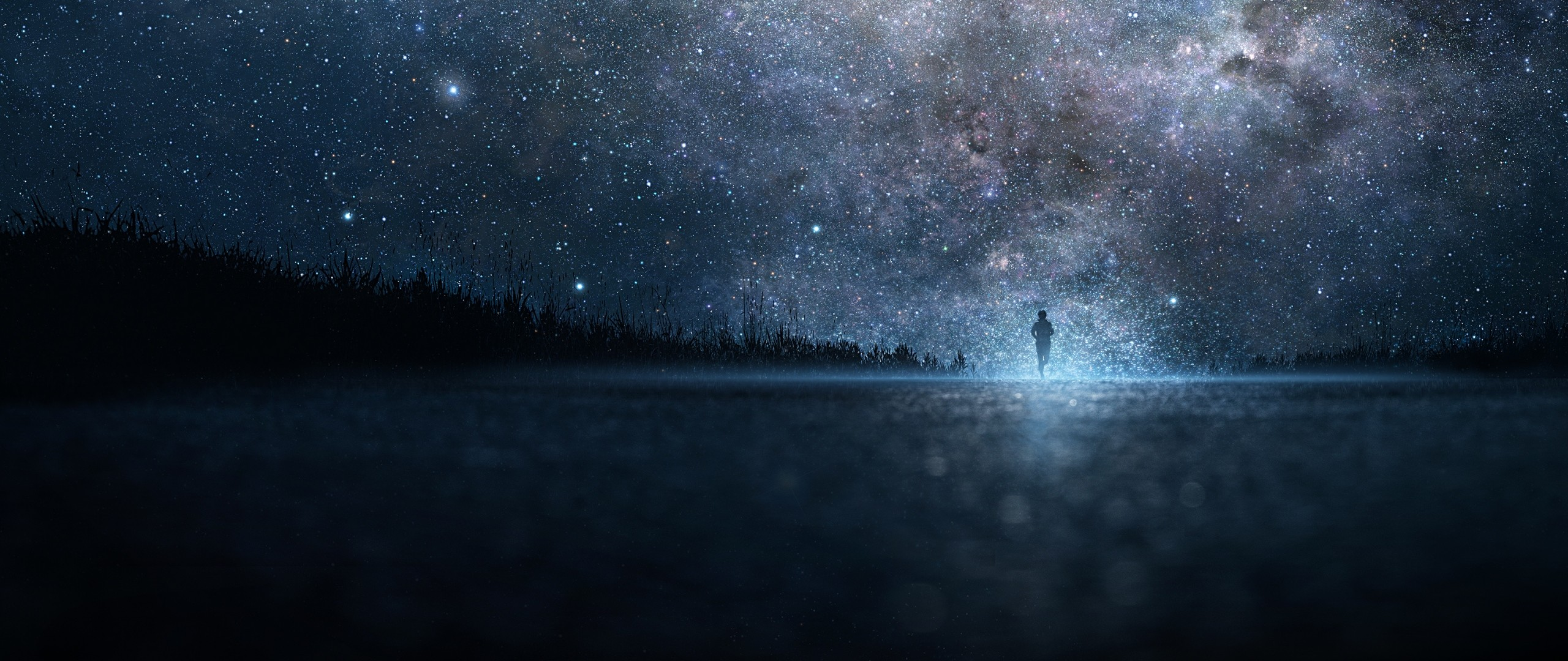 2560x1080 Preview wallpaper star, art, sky, night, people, silhouette
