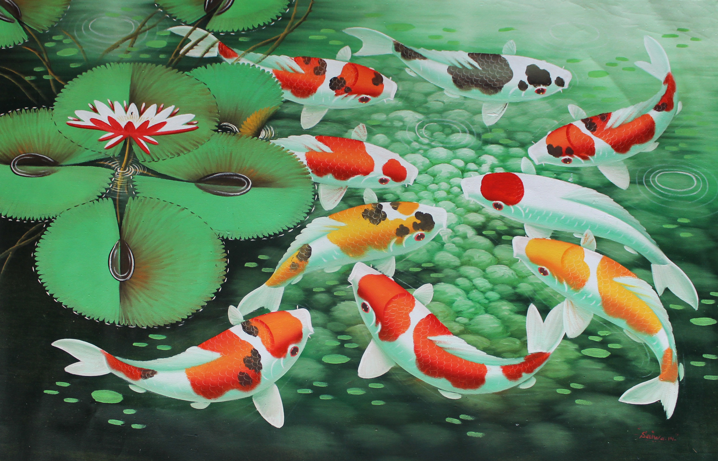 2466x1584 Koi Fish Painting - wallpaper.