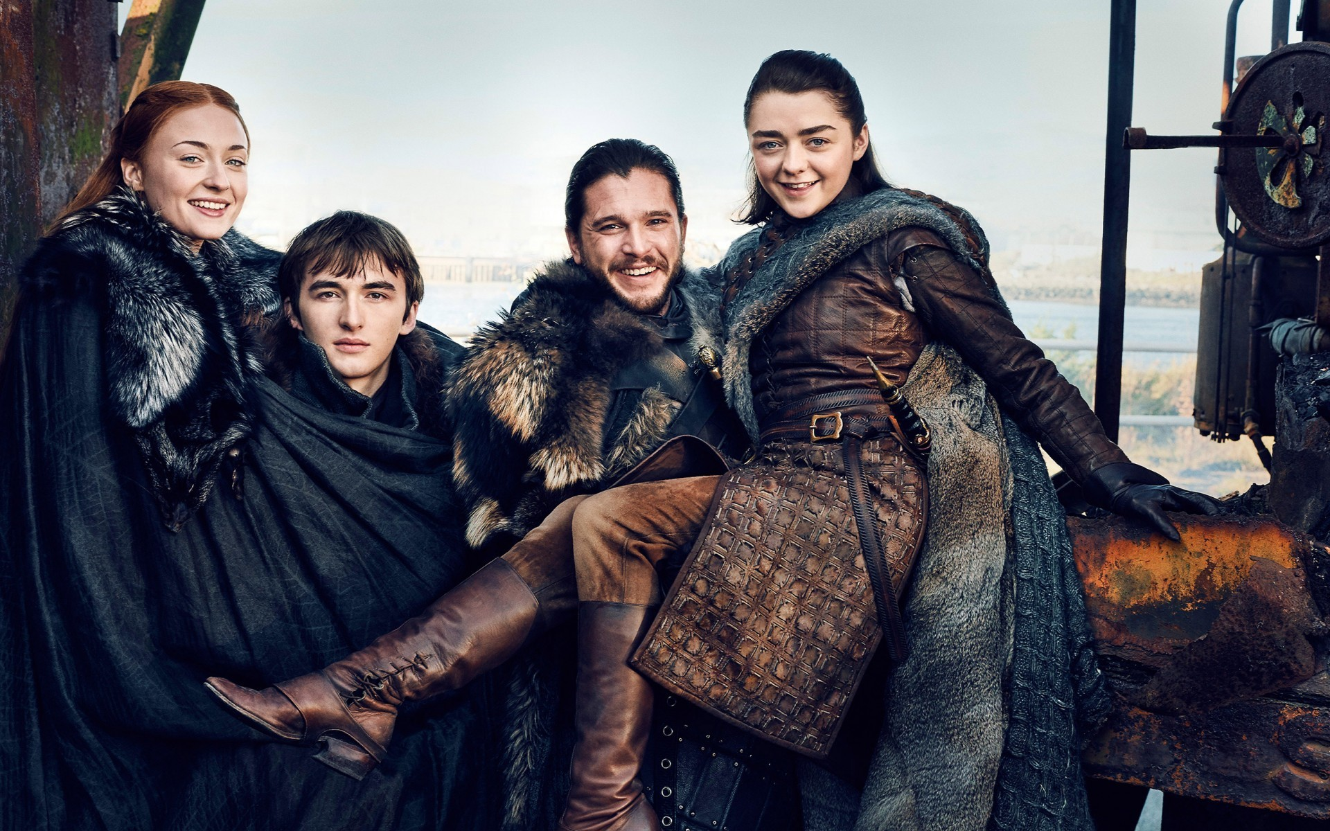 1920x1200 Sansa Stark, Bran Stark, Game of Thrones 2017, Jon Snow, Arya Stark, Isaac  Hempstead-Wright, Kit Harington, Maisie Williams, Sophie Turner