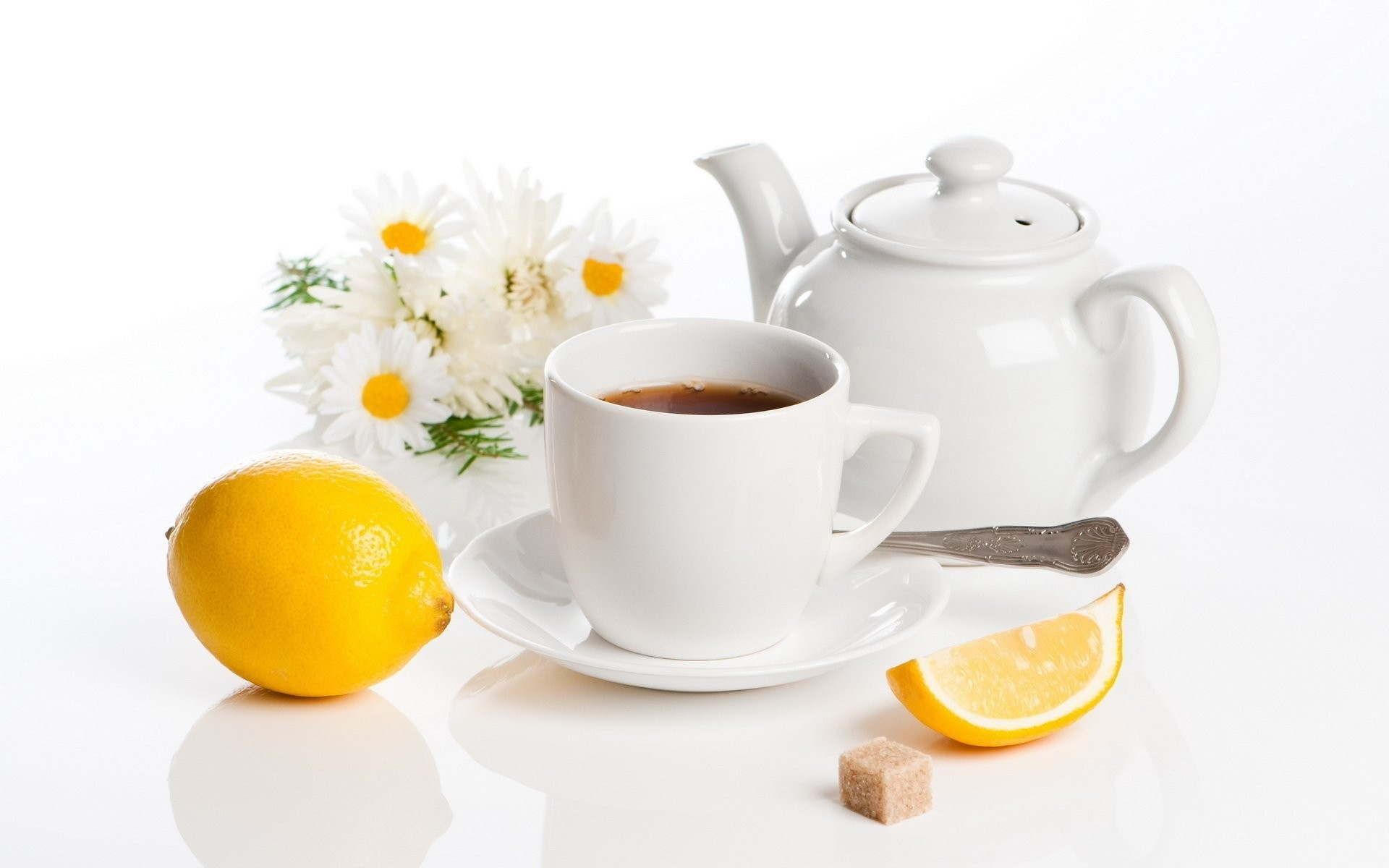 1920x1200 tea lemon daisy teapot