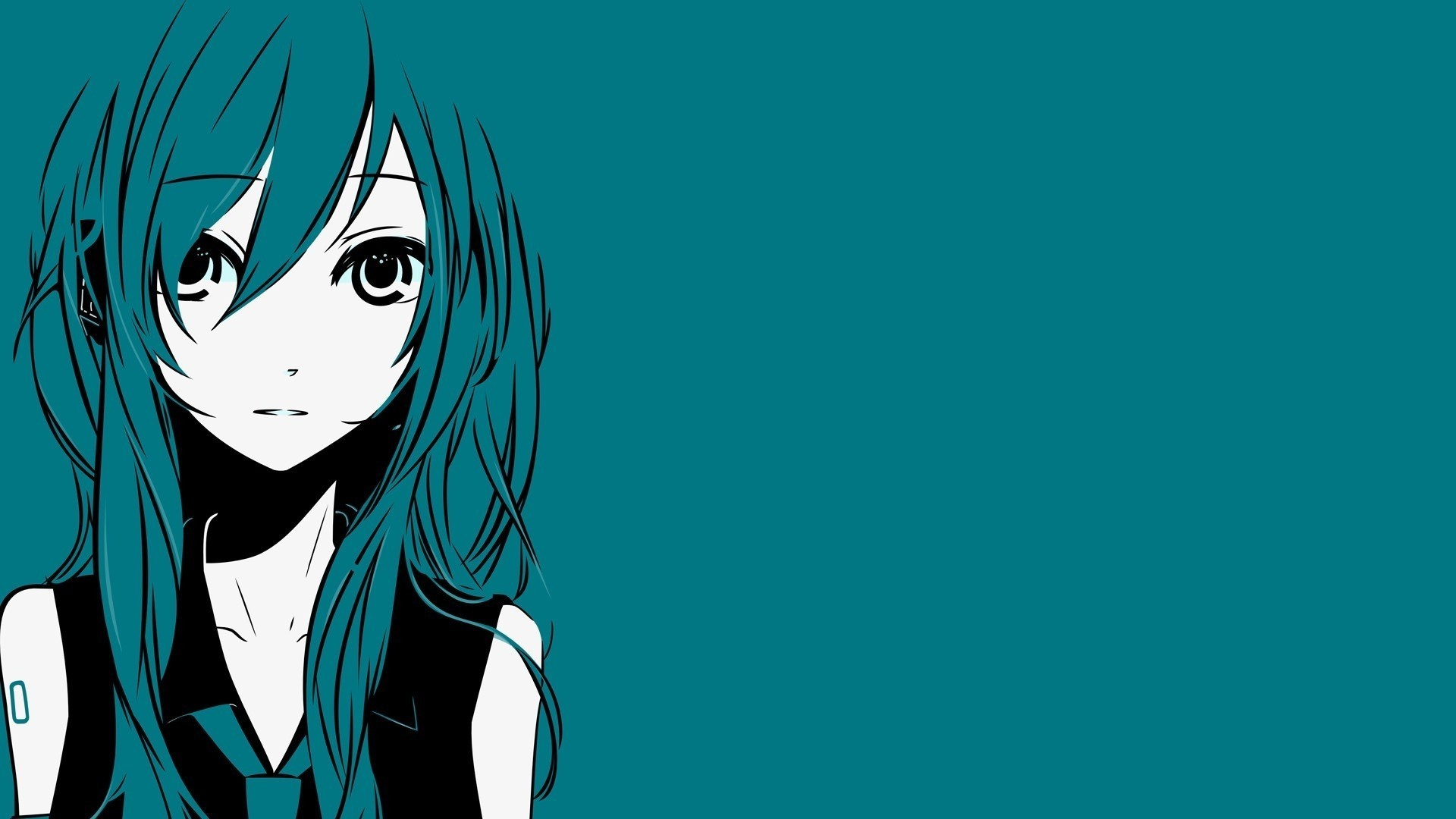 1920x1080 Hatsune Miku, Simple Background, Minimalism, Vocaloid Wallpapers HD /  Desktop and Mobile Backgrounds