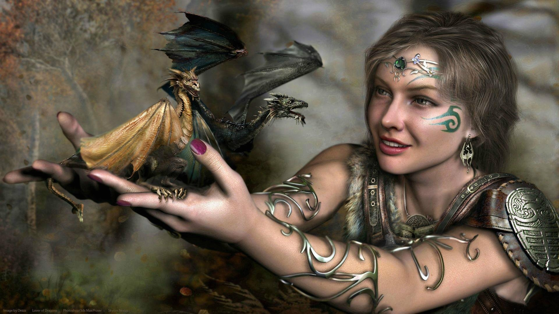 1920x1080 Fantasy Girl With Dragon Tattoos HD Wallpaper. Search more high