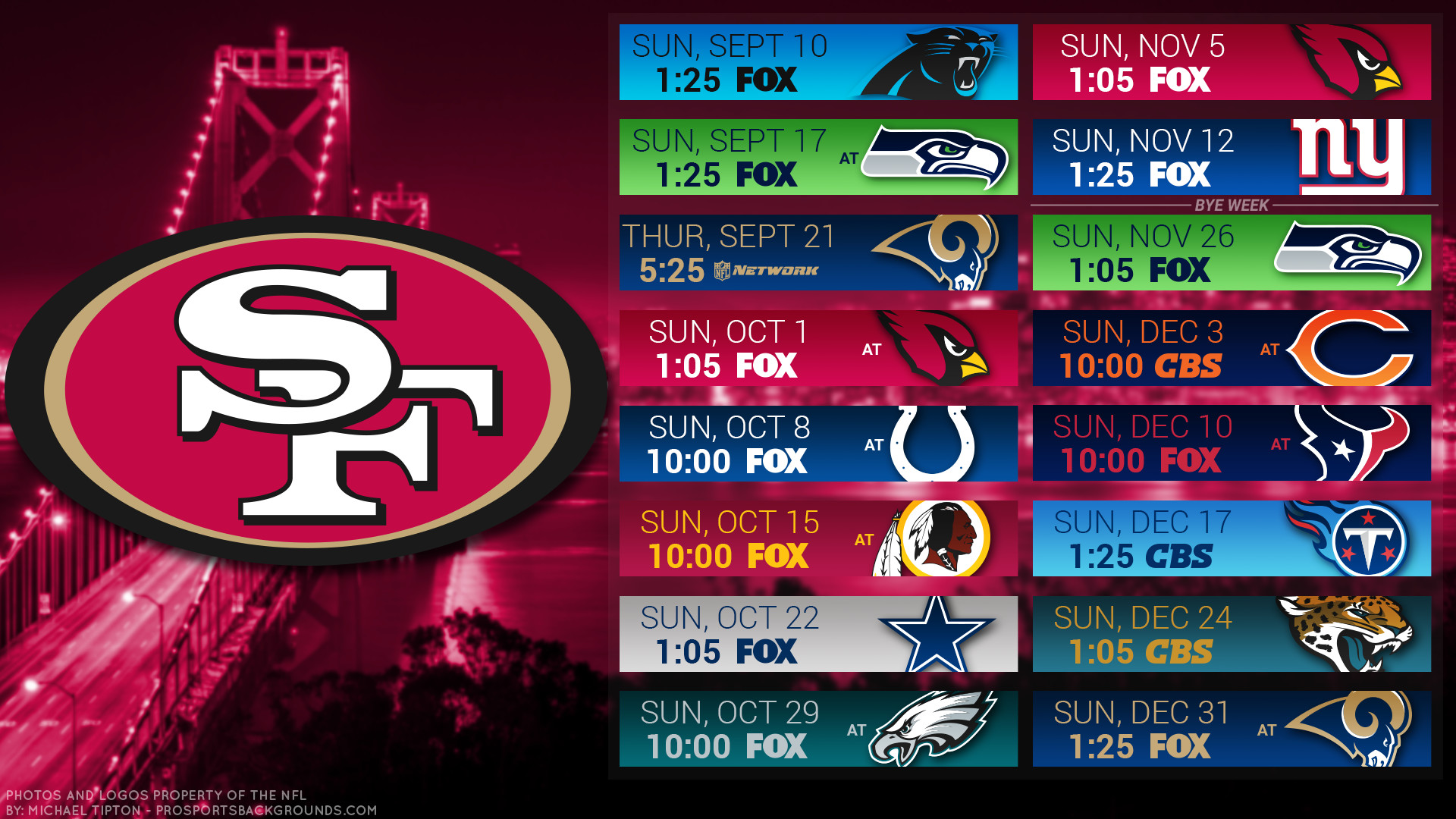 1920x1080 San Francisco 49ers 2017 schedule city football logo wallpaper free pc desktop computer .