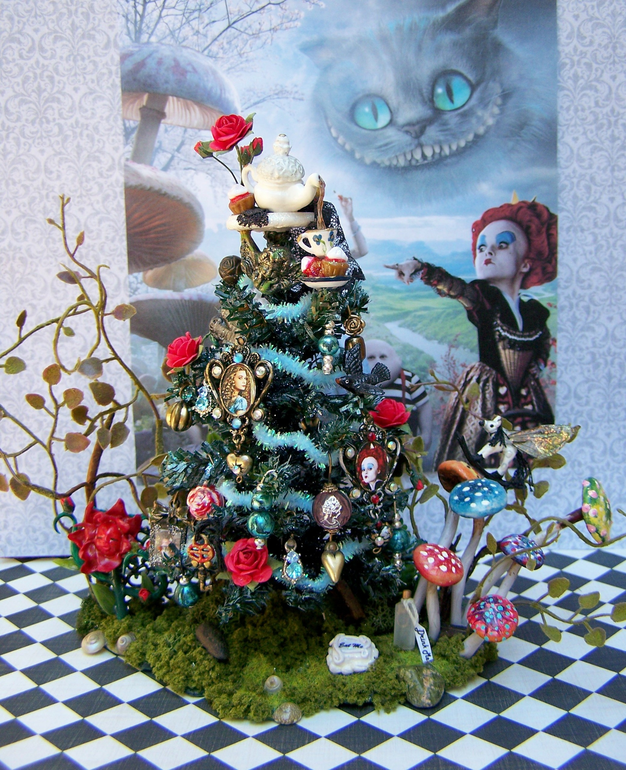 2081x2560 This is a scale miniature theme tree I made in honor of this film :). HD  Wallpaper and background photos of dollhouse miniature alice in wonderland-themed  ...