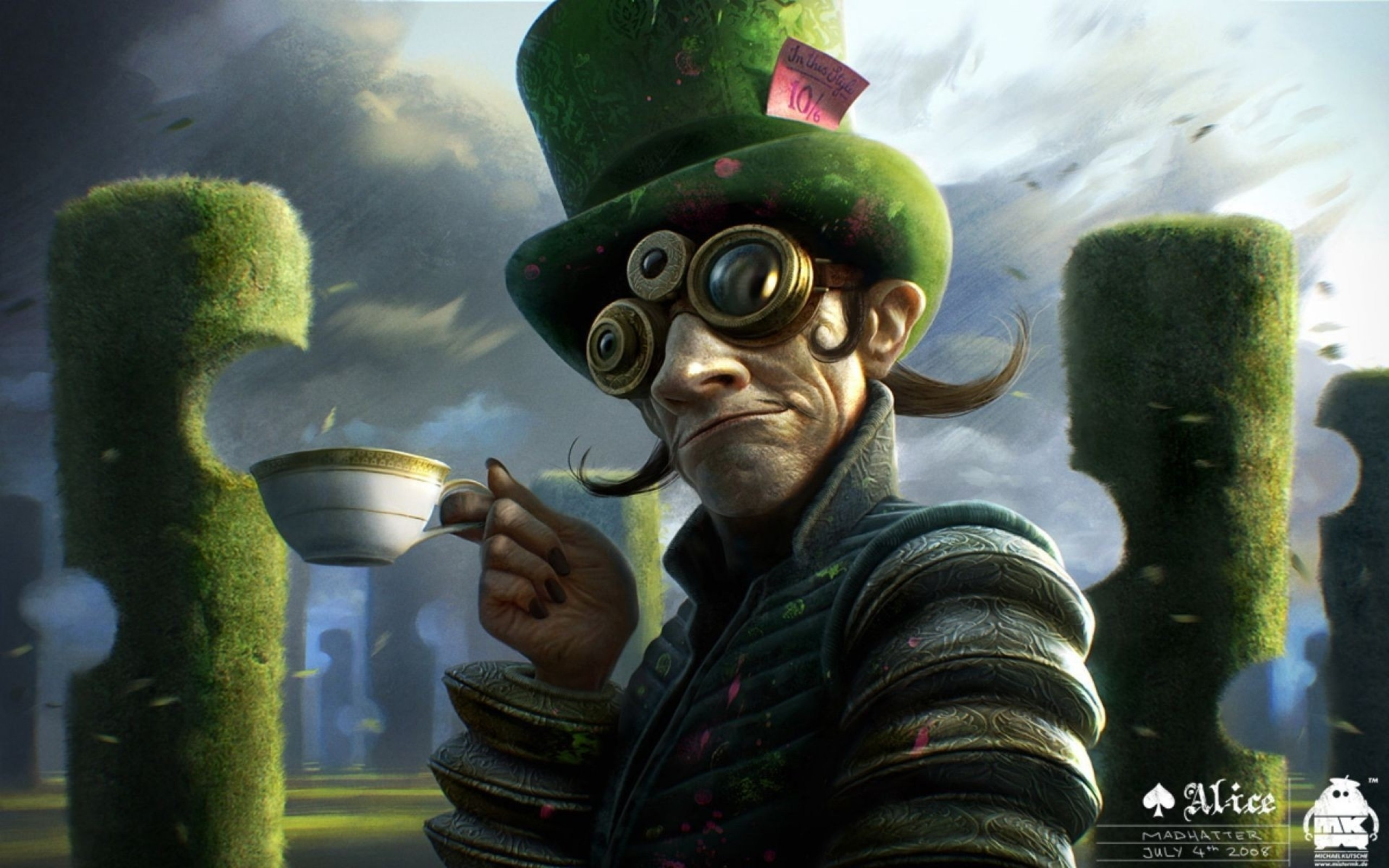 2560x1600 fantasy art mad hatter fan faces 1920x1200 wallpaper Art HD Wallpaper