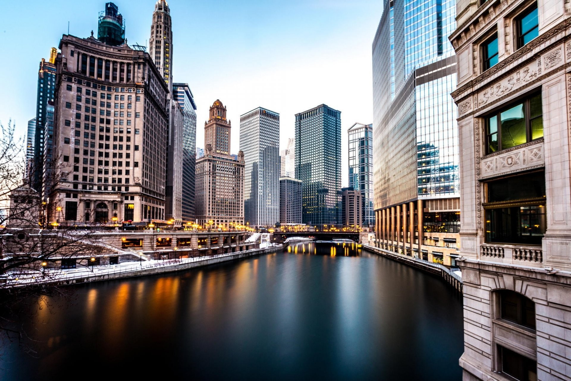 1920x1280 chicago america chicago america buildings skyscraper night winter river  river