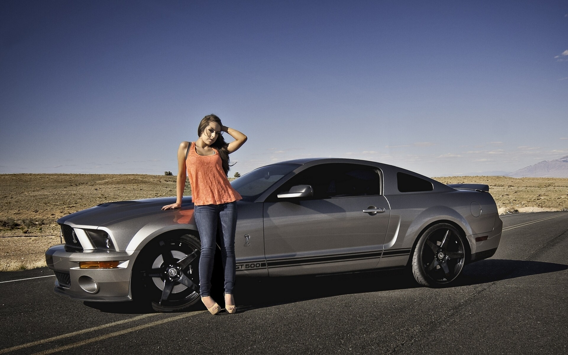 1921x1200 Wallpapers Ford Mustang Shelby GT500 Grey Girls Cars Side  auto  automobile
