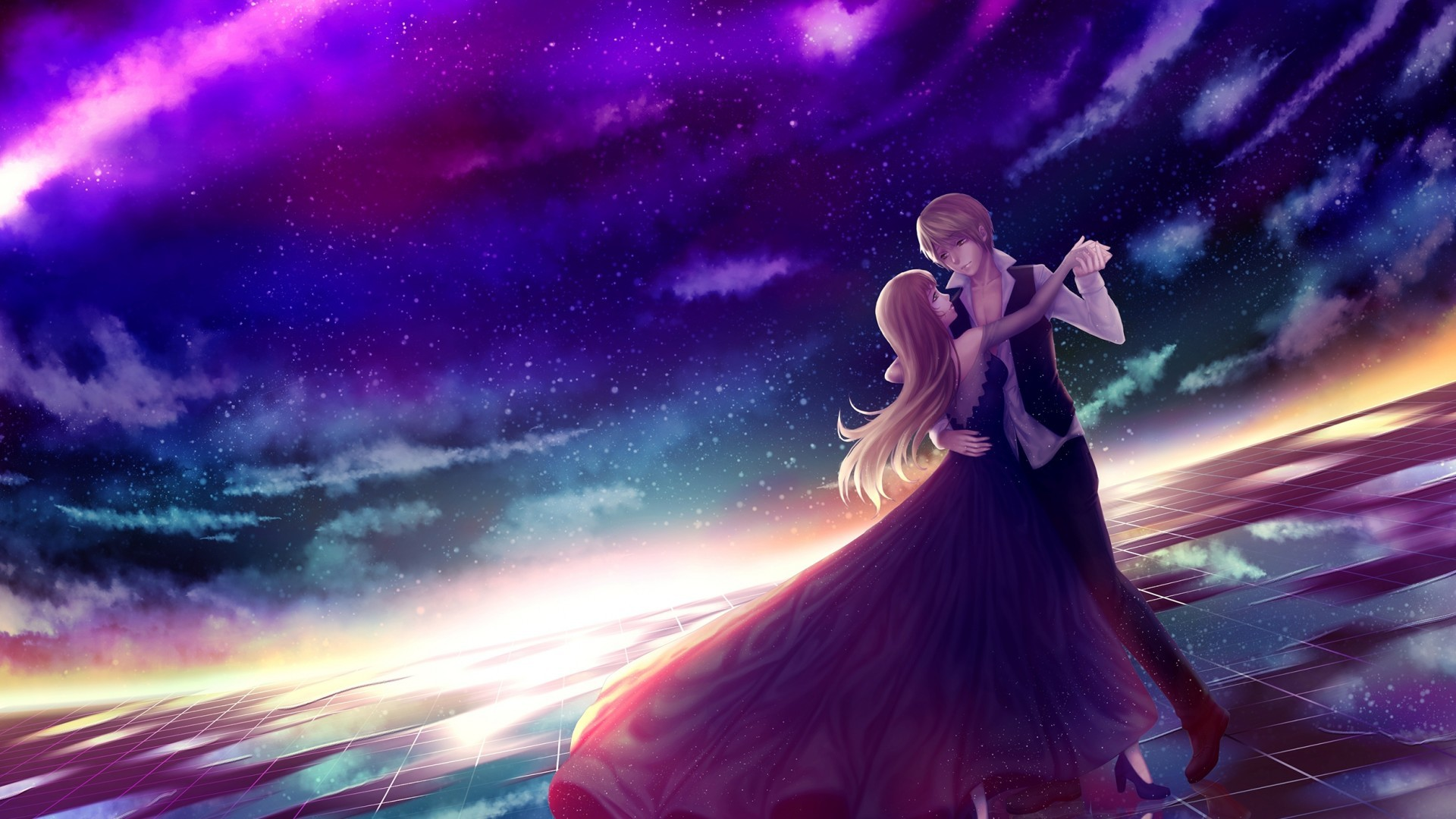 1920x1080 Anime Couple, Dancing, Stars, Sky, Romance, Dress