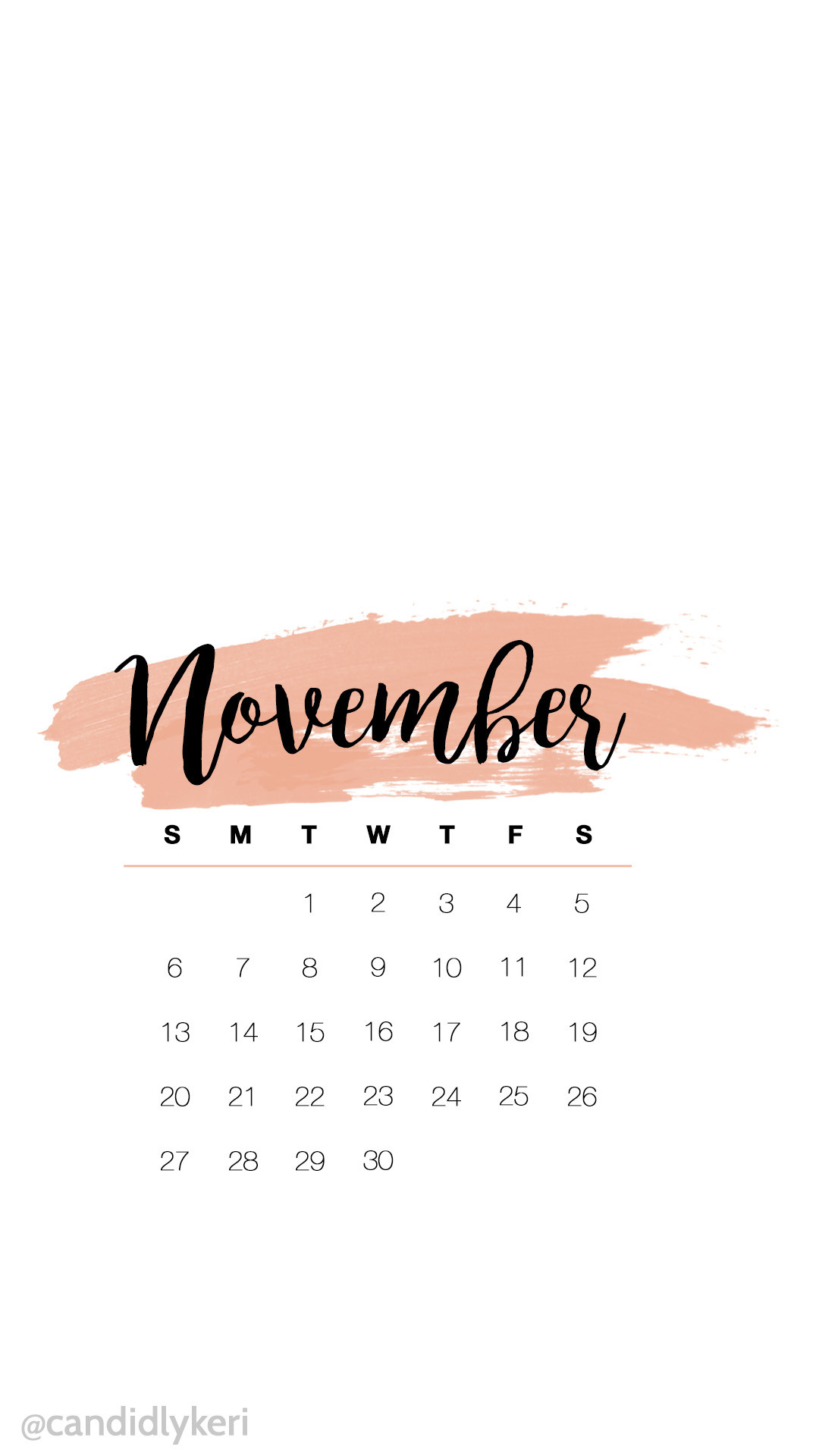 1080x1920 Cute pink watercolor November calendar 2016 wallpaper you can download for  free on the blog!