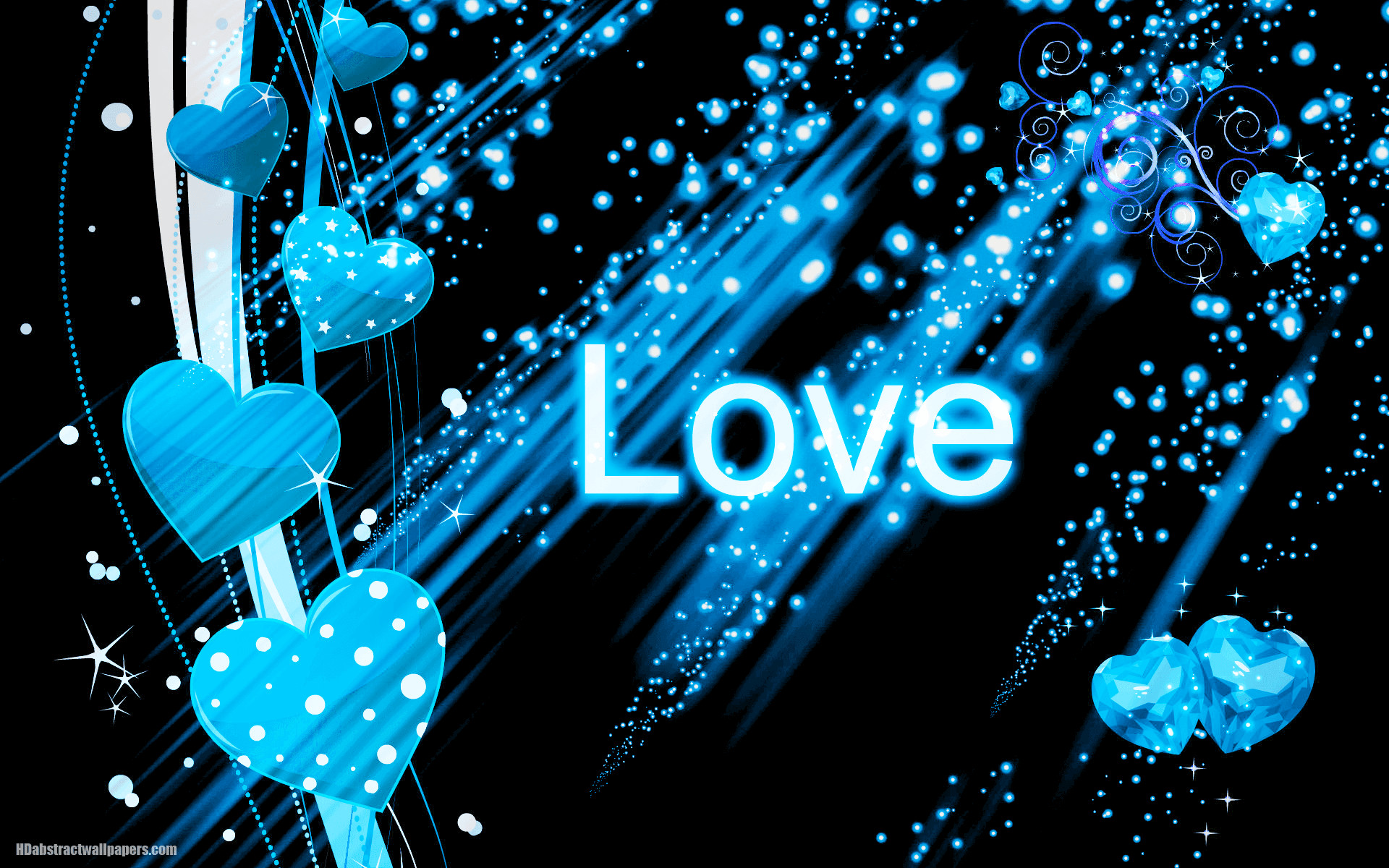 1920x1200 Abstract blue wallpaper with blue love hearts