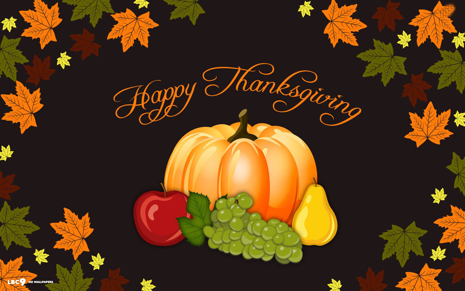 1920x1200 happy thanksgiving day vector art pumpkin autumn leaves holiday wallpaper