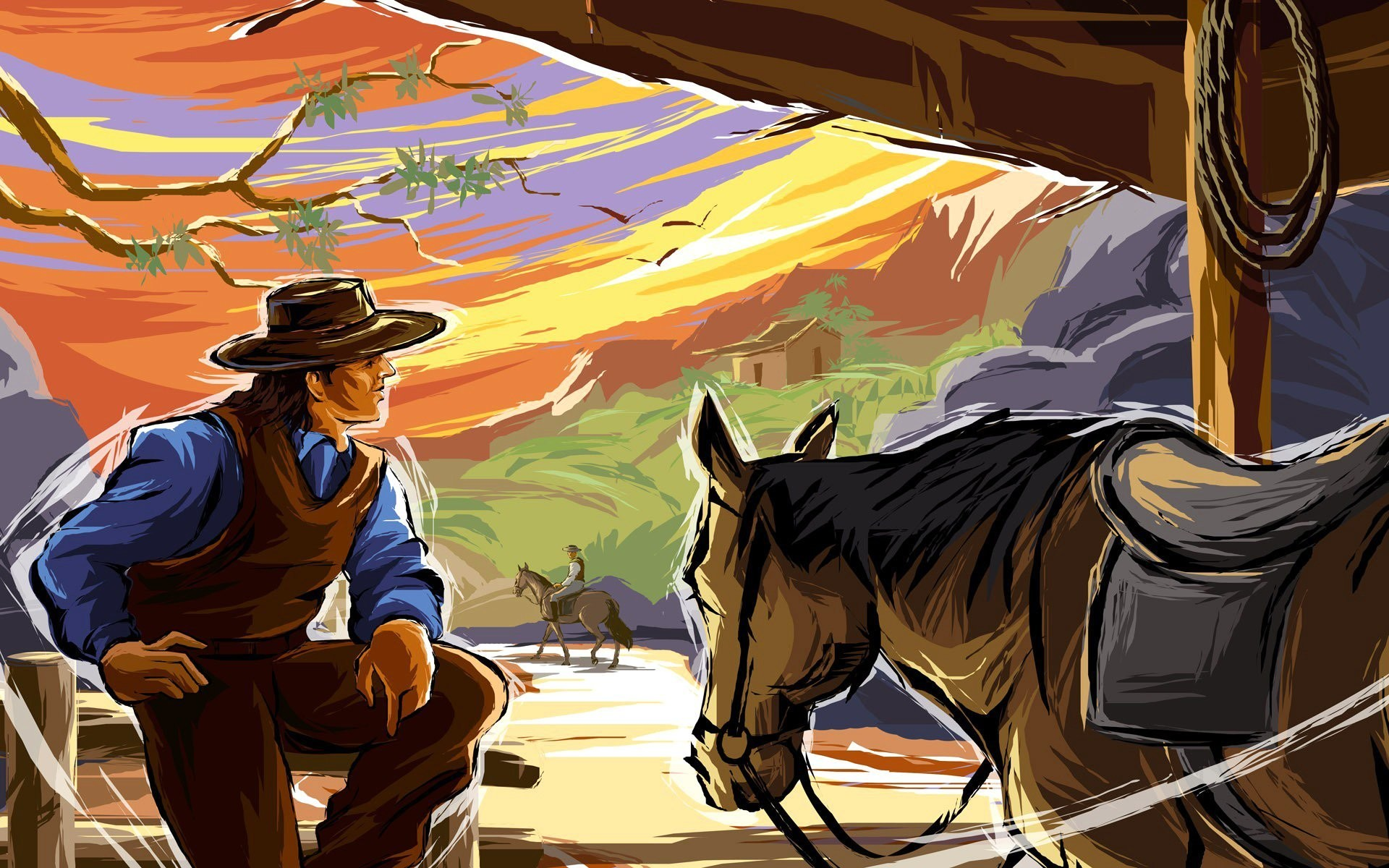 1920x1200 wild west cowboy horse mountain picture vector