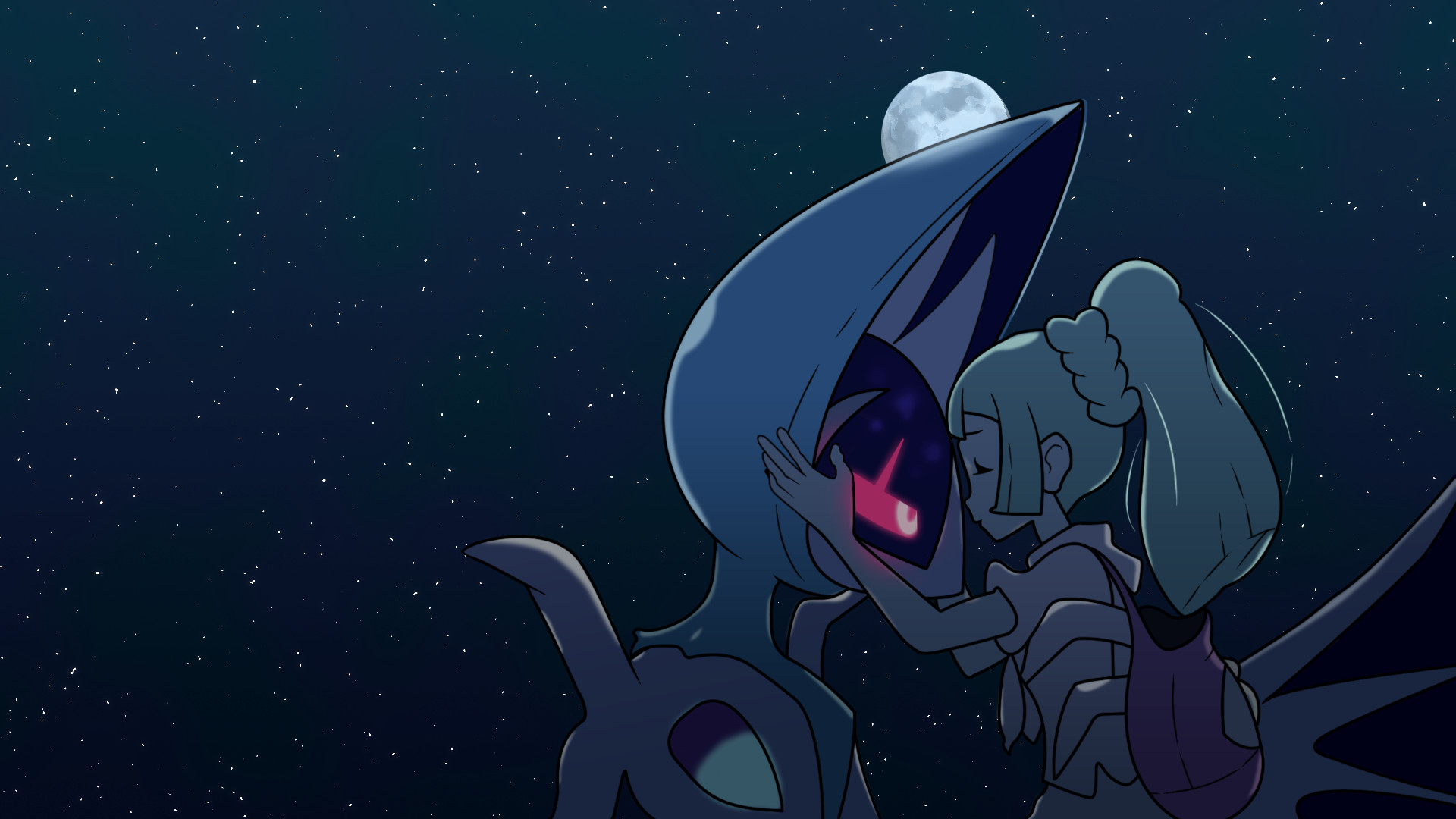 1920x1080 I recreated the credits image of Lillie and Lunala, and made a wallpaper  out of it. - Album on Imgur