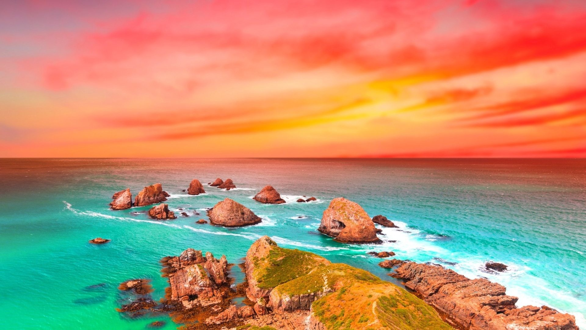 1920x1080 Beautiful Shore Colorful Sunset Sea Rocks Colors Ocean Magnificent Scenery  Wallpaper For Ipad - 1920x1200