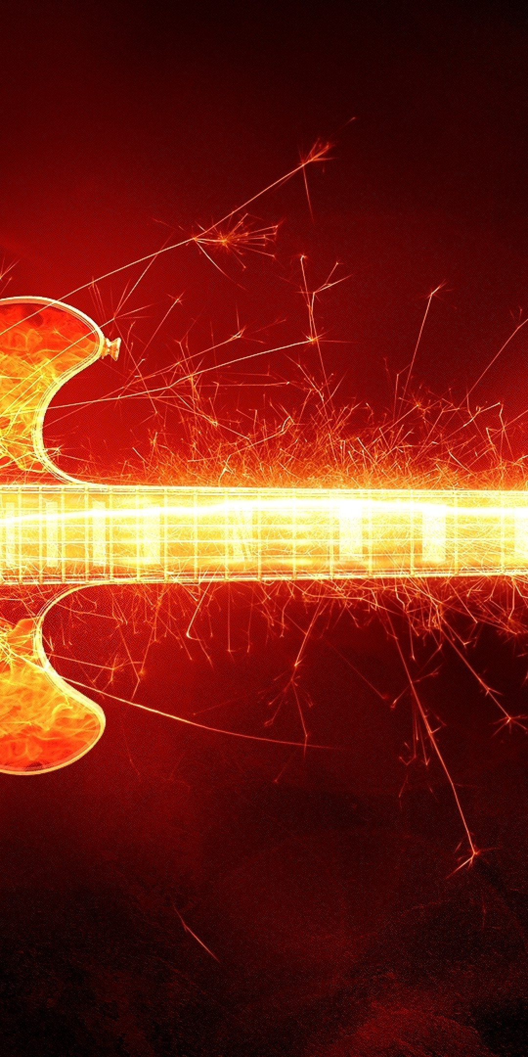 1080x2160 Guitar, Artistic, Fire, Particles, Instrument