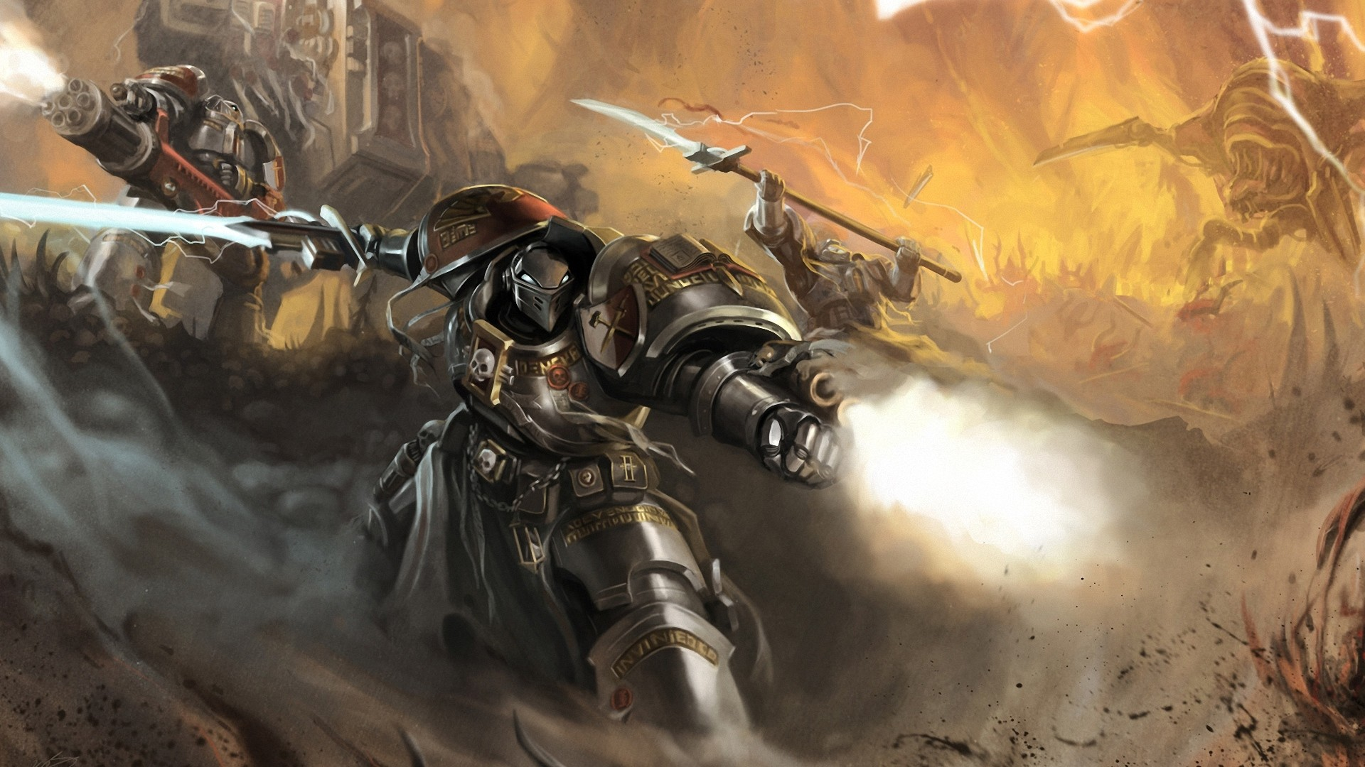 1920x1080 Preview wallpaper okita, warhammer 40k, space marines, robot, weapon, sword,