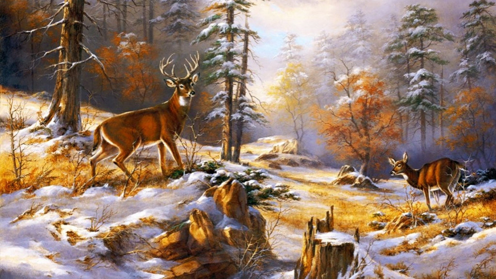 1920x1080  wood pretty deer early winter desktop pc and mac Warm Fireplace  Facebook Timeline Covers Whimsical